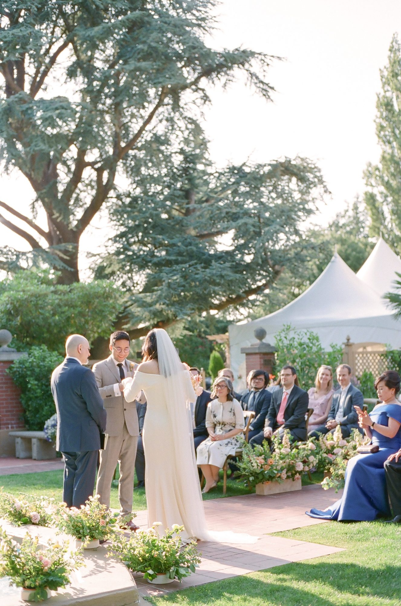 evelyn sam wedding intimate officiation during ceremony