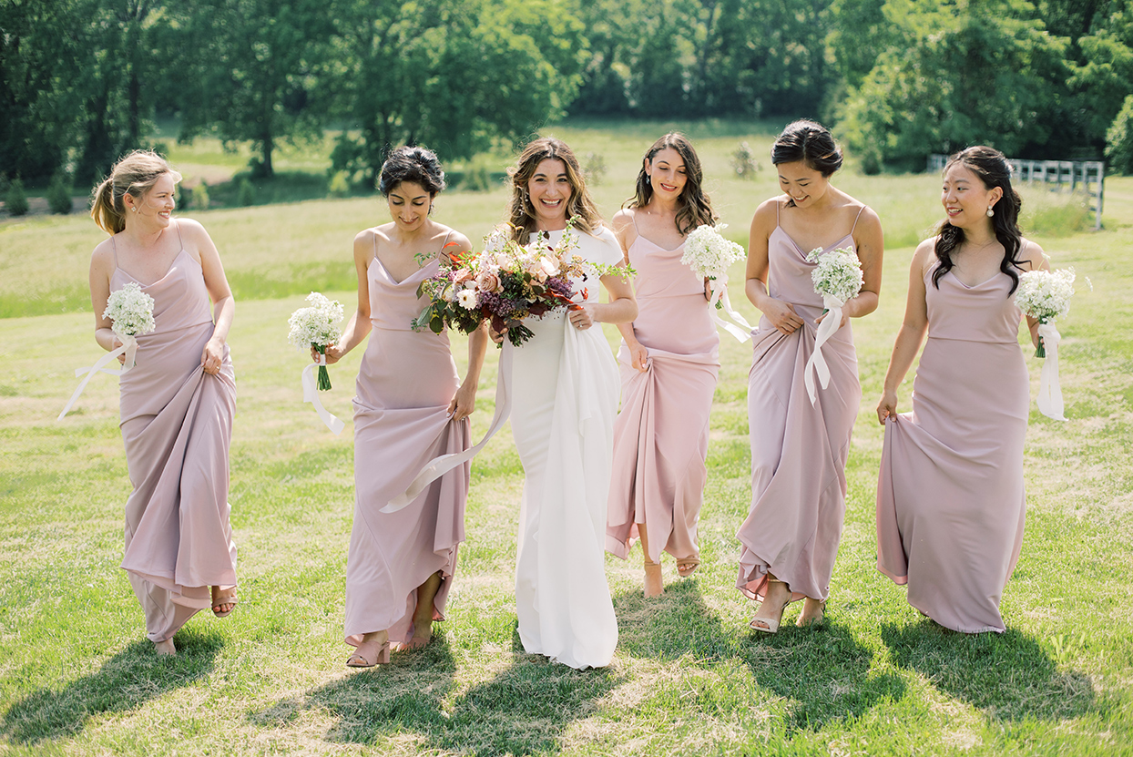 julia doug wedding bridesmaids in pastel pink