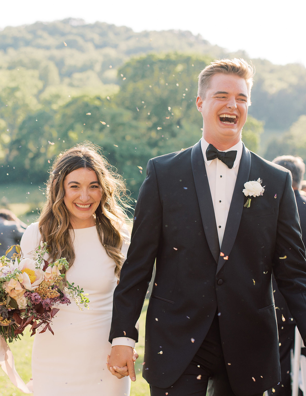 julia doug wedding recessional confetti