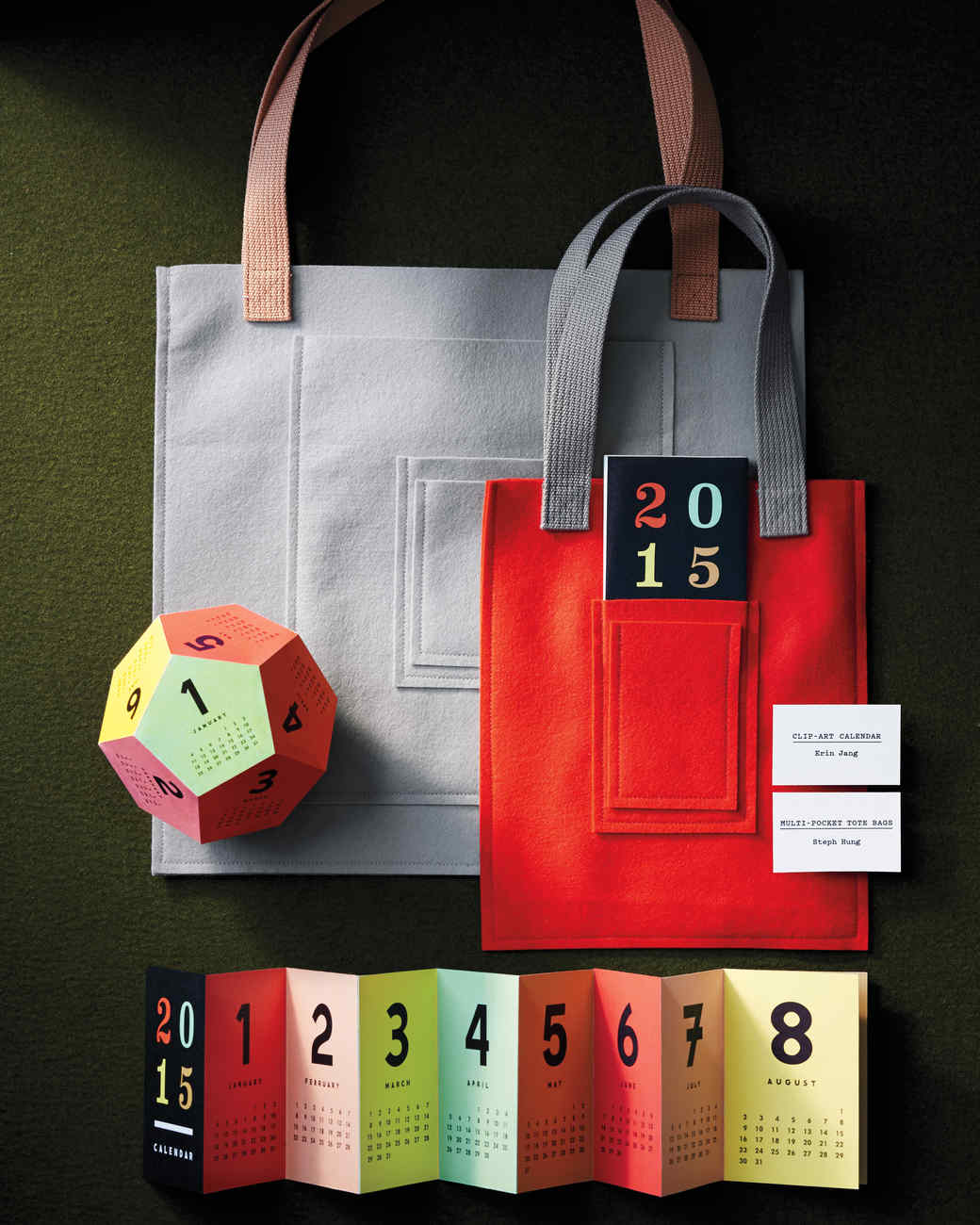 We love the idea of making this felt-bound tote bag as a gift—felt doesn't fray, so no hemming is required. From largest to smallest, the pockets on the gray bag are sized to hold a newspaper, tablet, smartphone, and a small subway card. You can make the smaller one, with pockets for small toys, for kids.