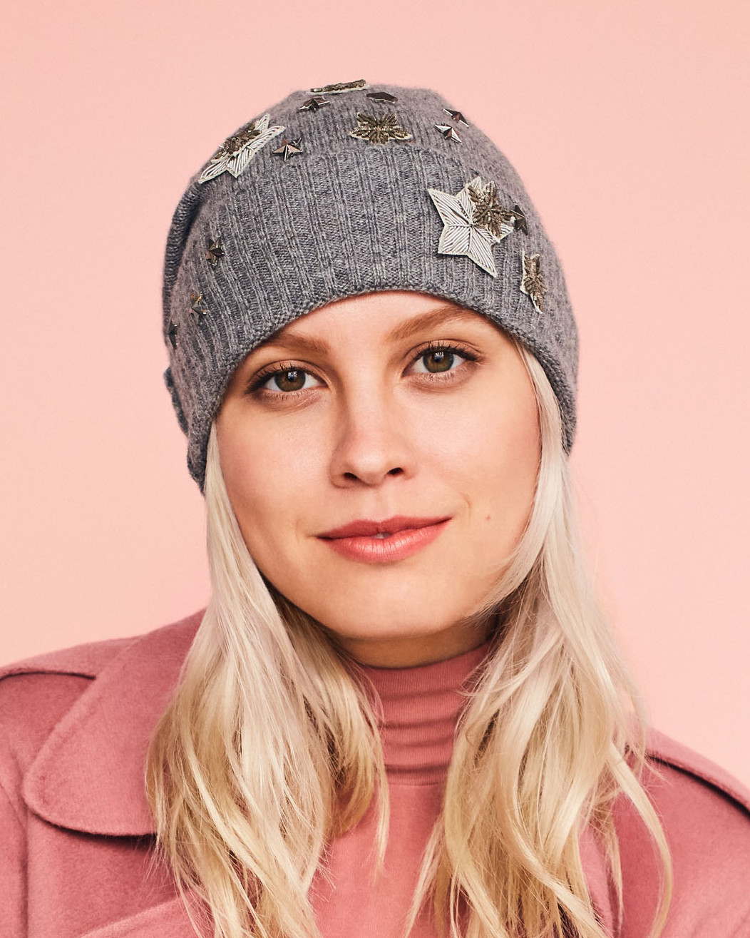 In the bitter cold of winter, you'll be reaching for a warm hat every day. That's why we brightened this basic beanie with vintage bullion appliqués and iron-on metal studs. Create this look by attaching vintage bullion appliqués with fabric glue, and iron-on metal studs to a vintage cashmere hat.Shop Now: Barney's New York Slouchy Cashmere Hat, $95, barneys.com. Trims by the Yard Christmas Small Branch Snowflake Iron-On Appliqués, $2 for 3, trimsbytheyard.com.