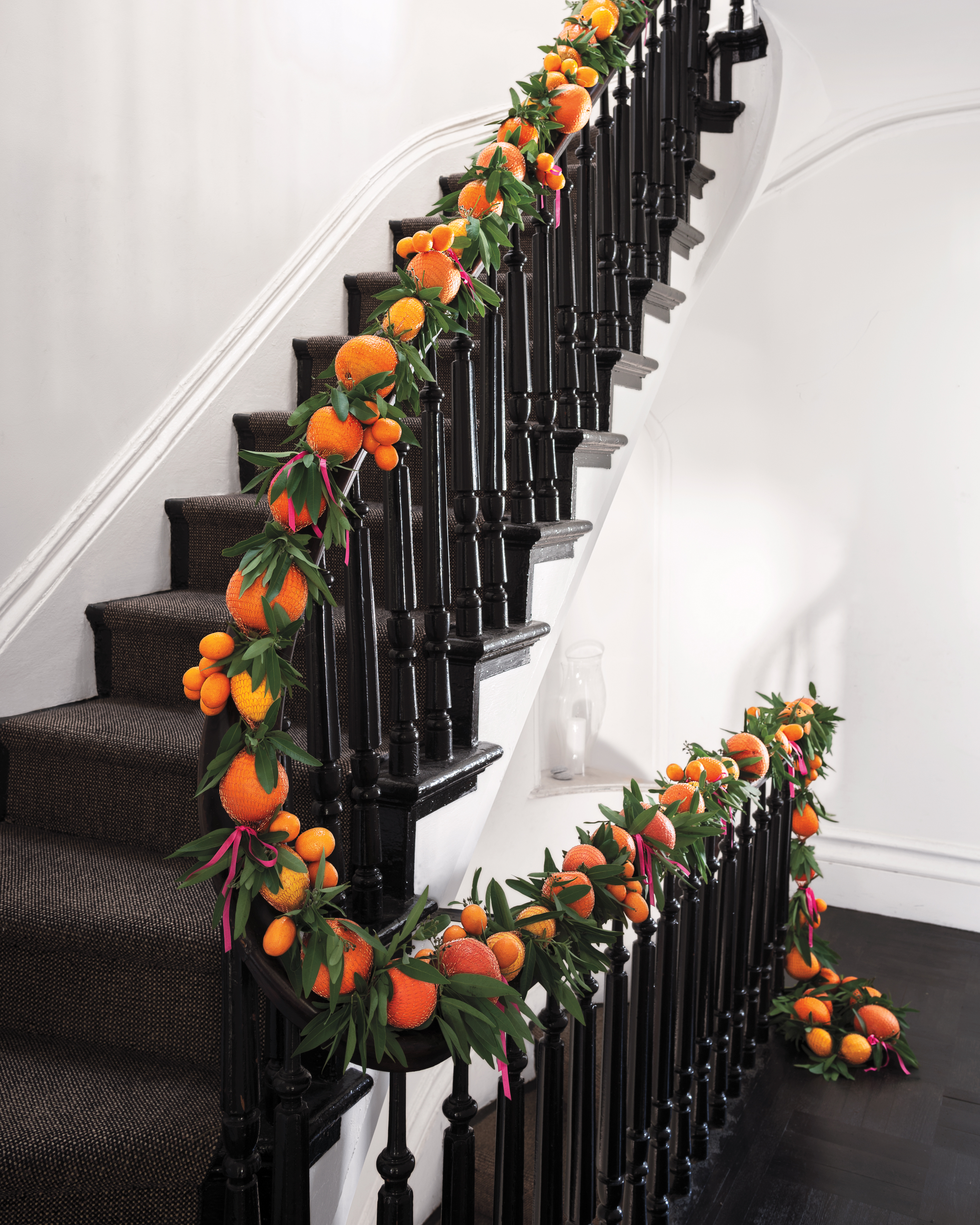 stairway with a citrus garland