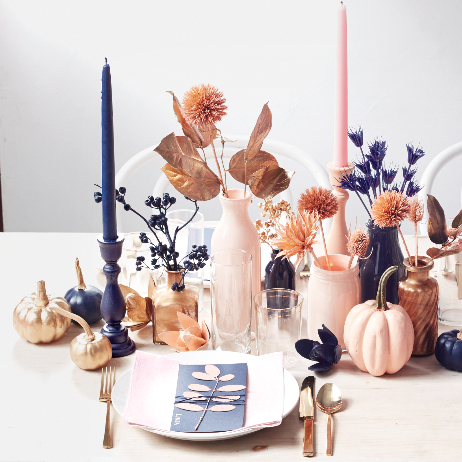 colorblocked centerpiece for Thanksgiving