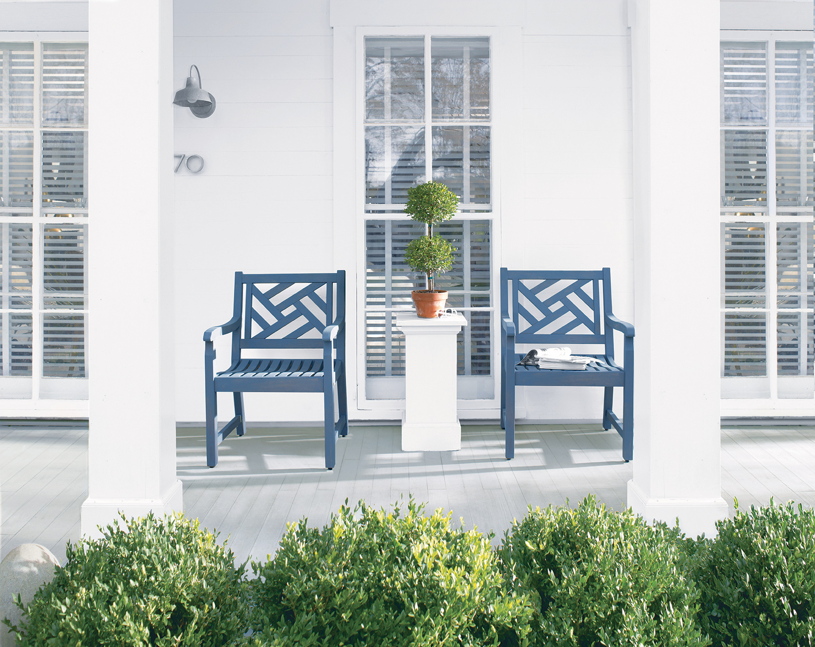 home front porch blue chairs