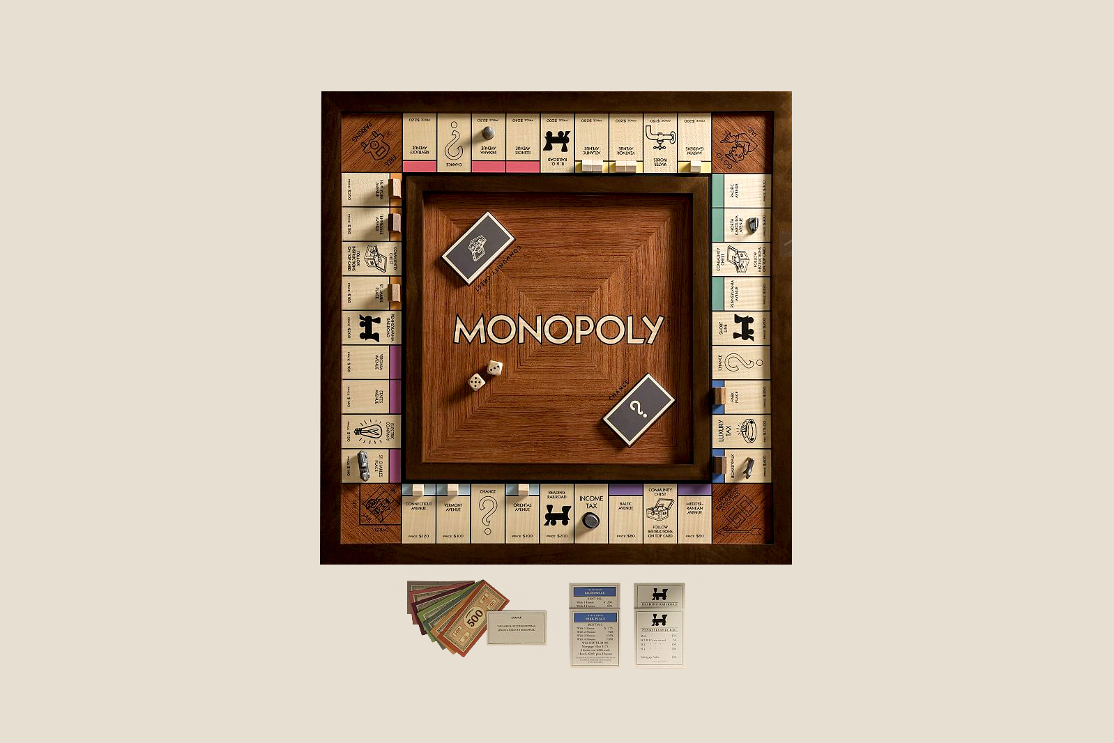 Wooden Monopoly Heirloom Edition Board Game