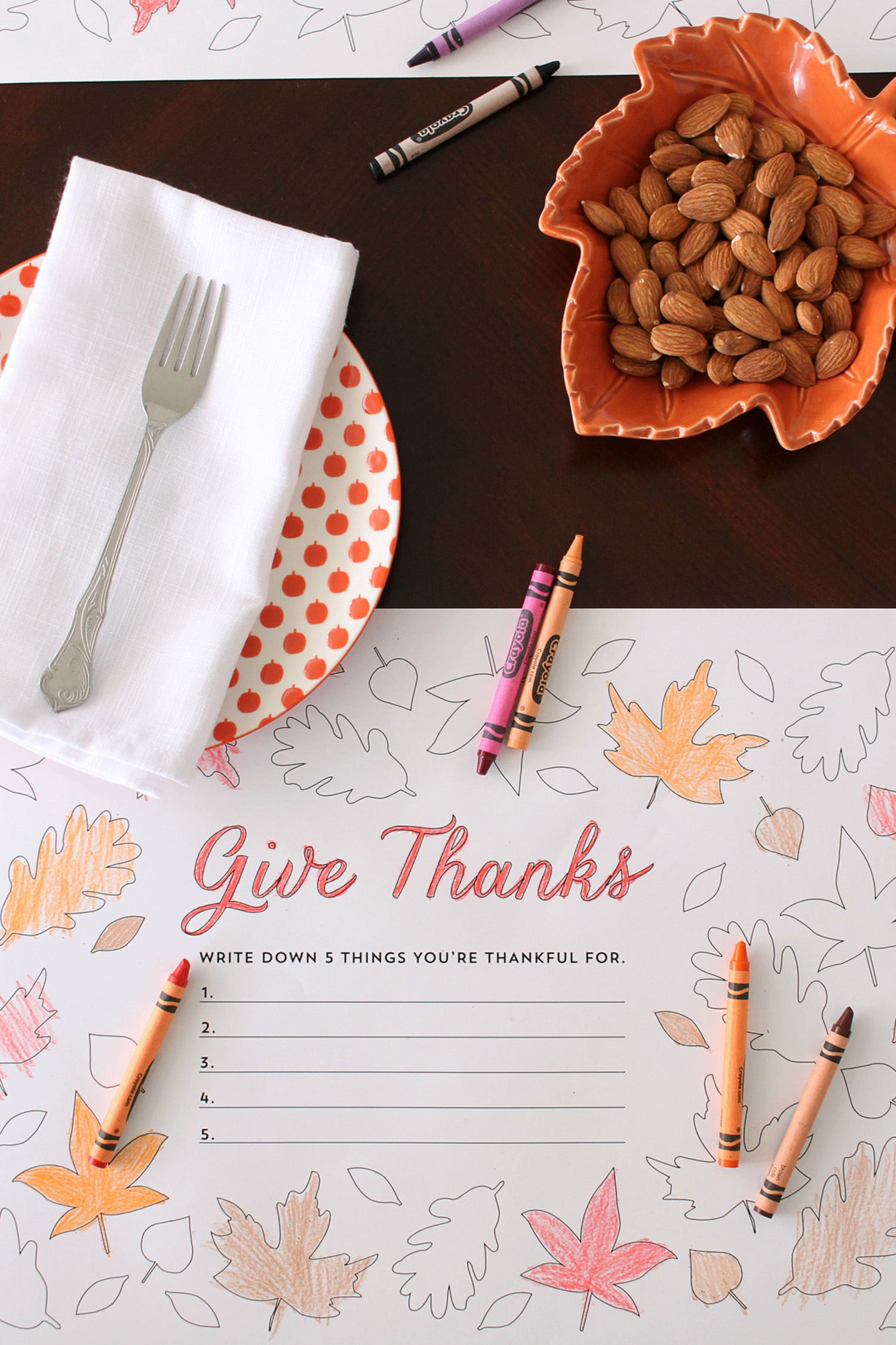 Give Thanks place mats