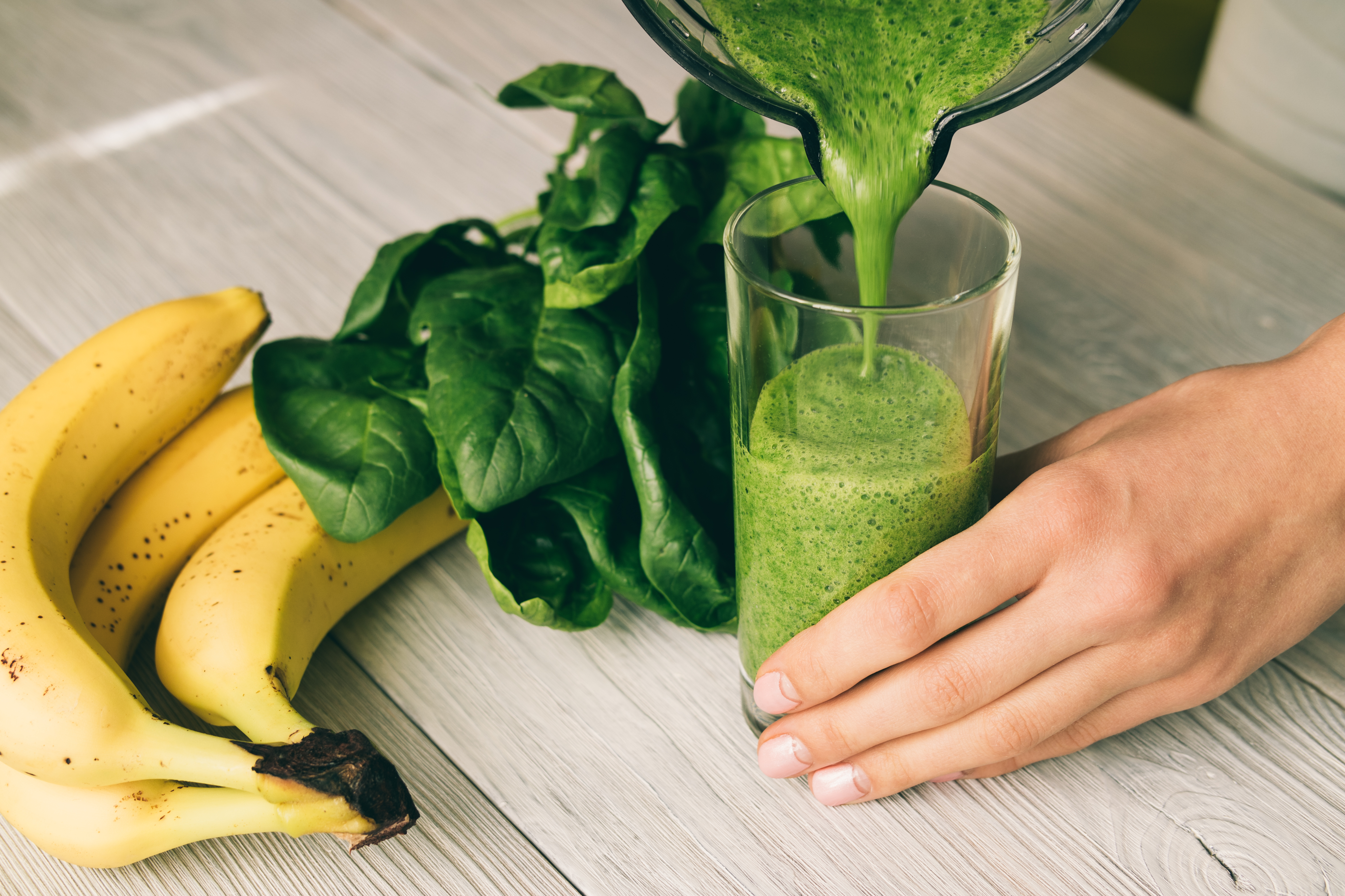 green smoothie with fruit and vegetables