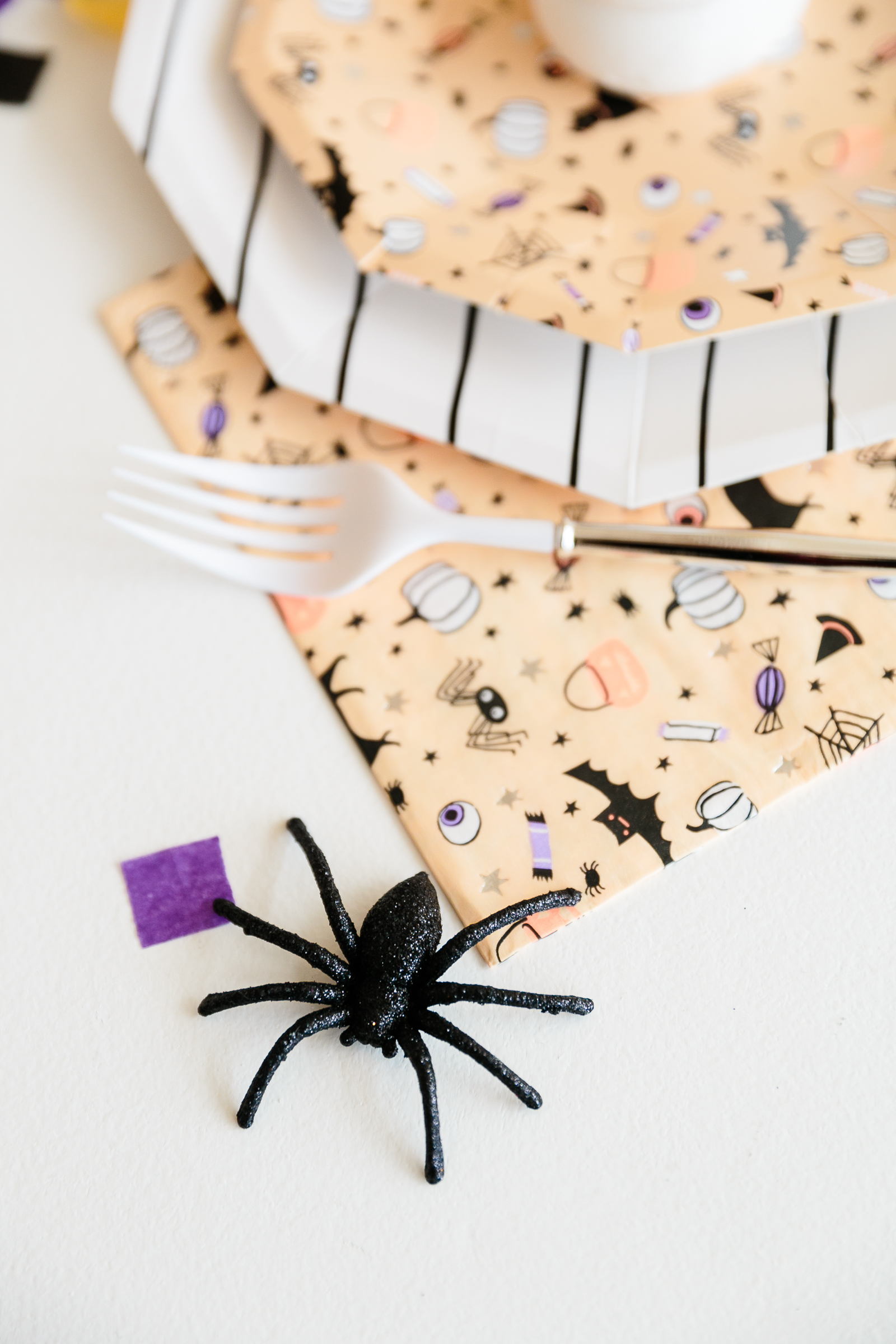 spider on a Halloween party table