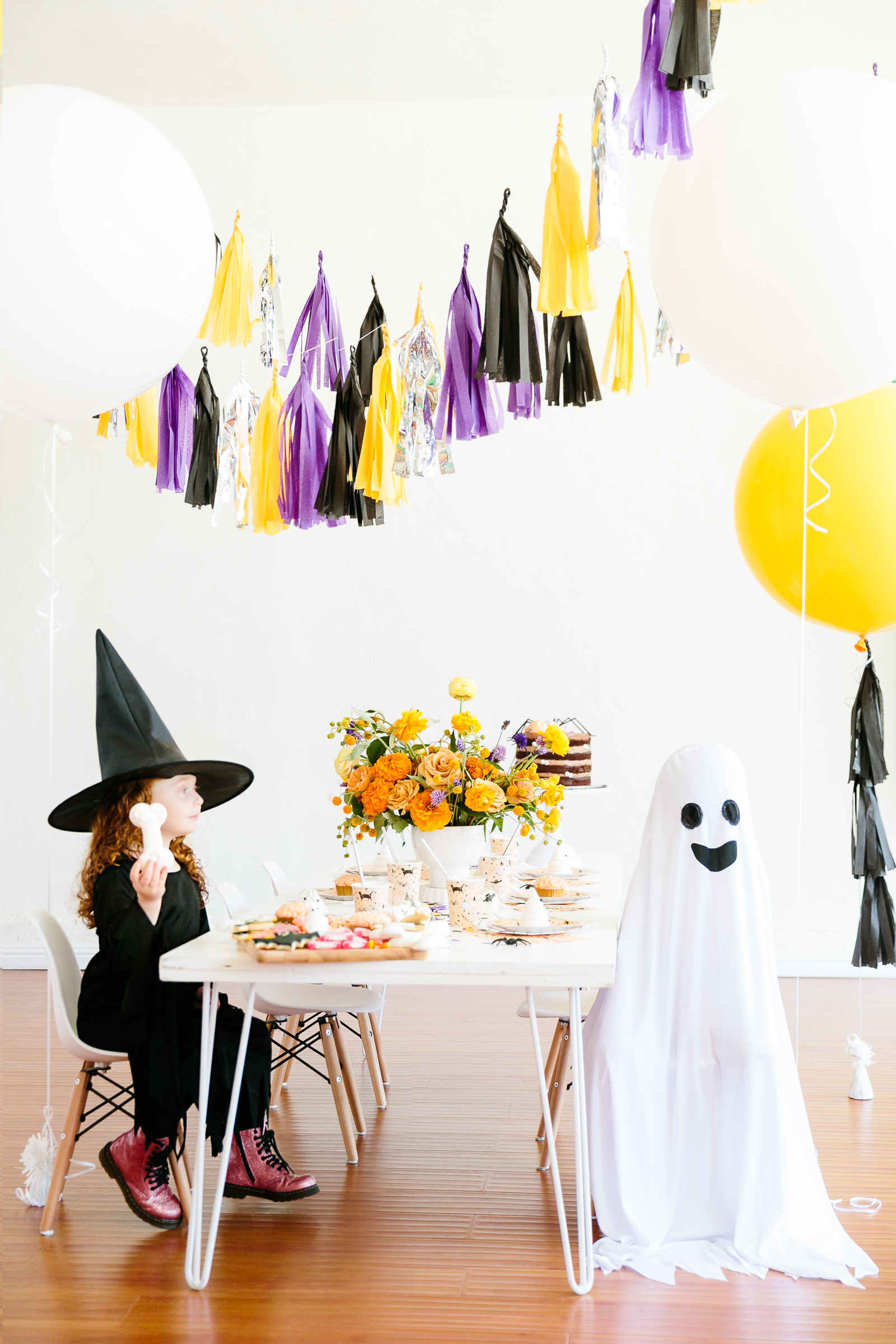 kids in Halloween costumes for the party
