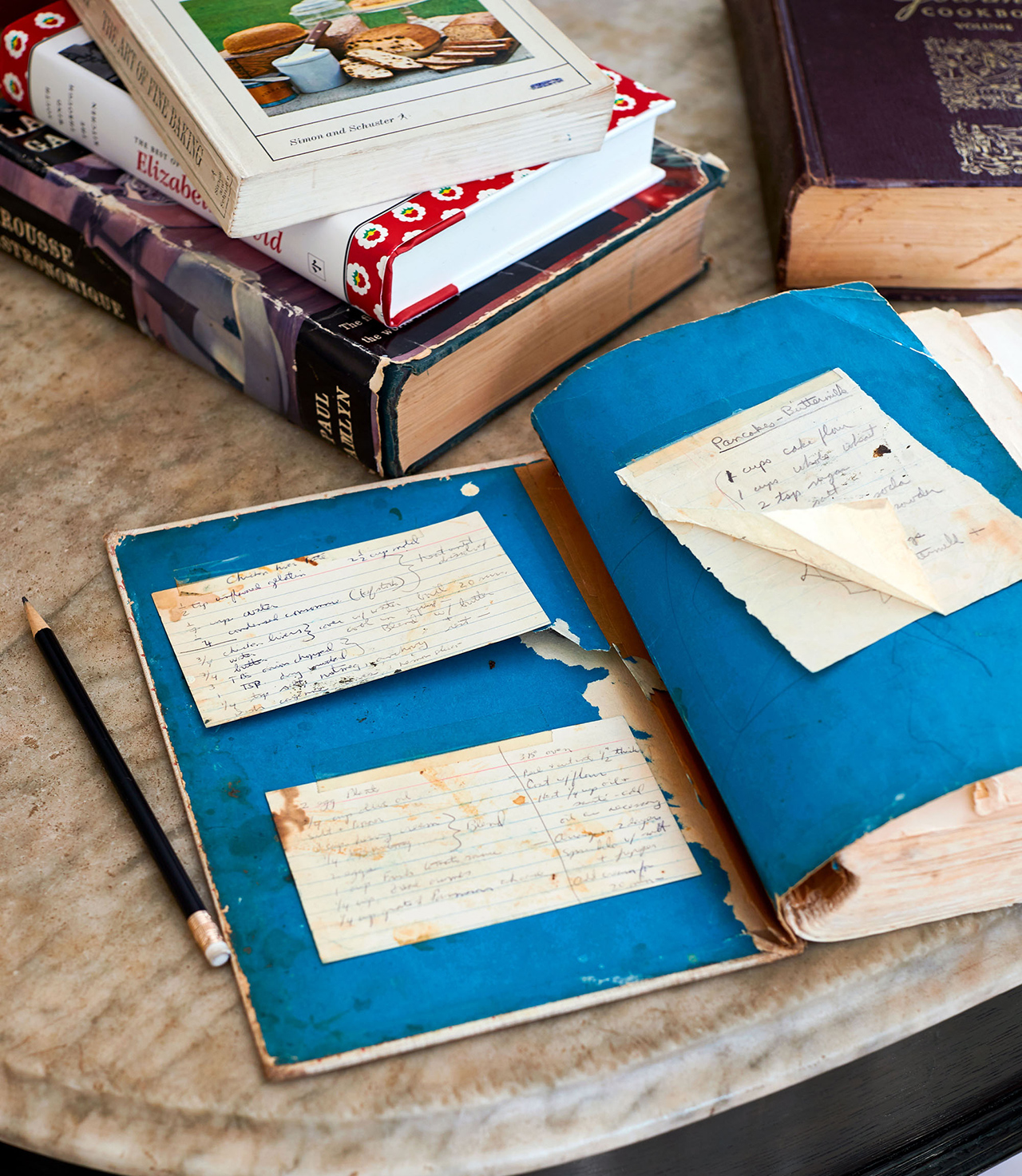 vintage recipe book old cards attached