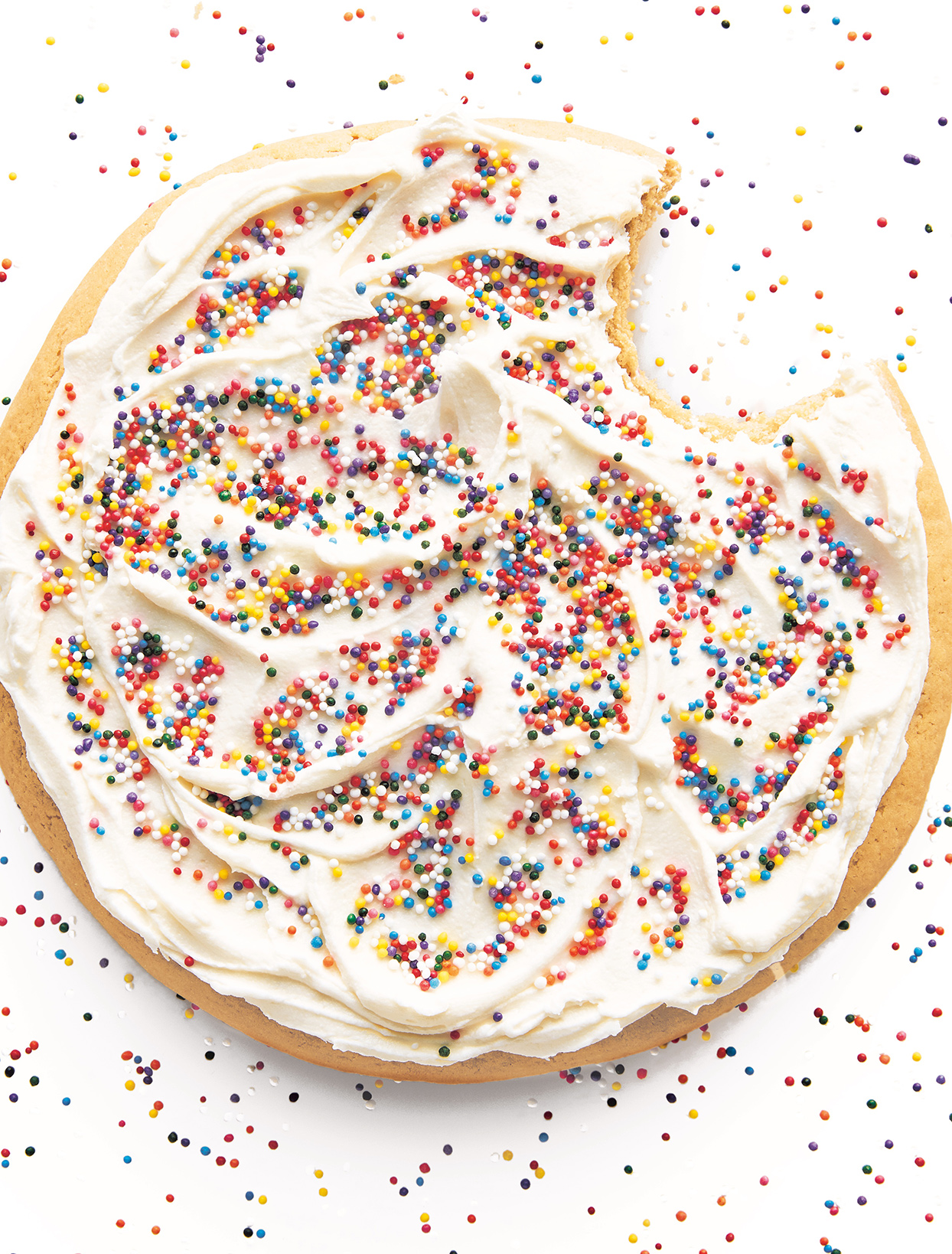 giant frosted cookie with sprinkles