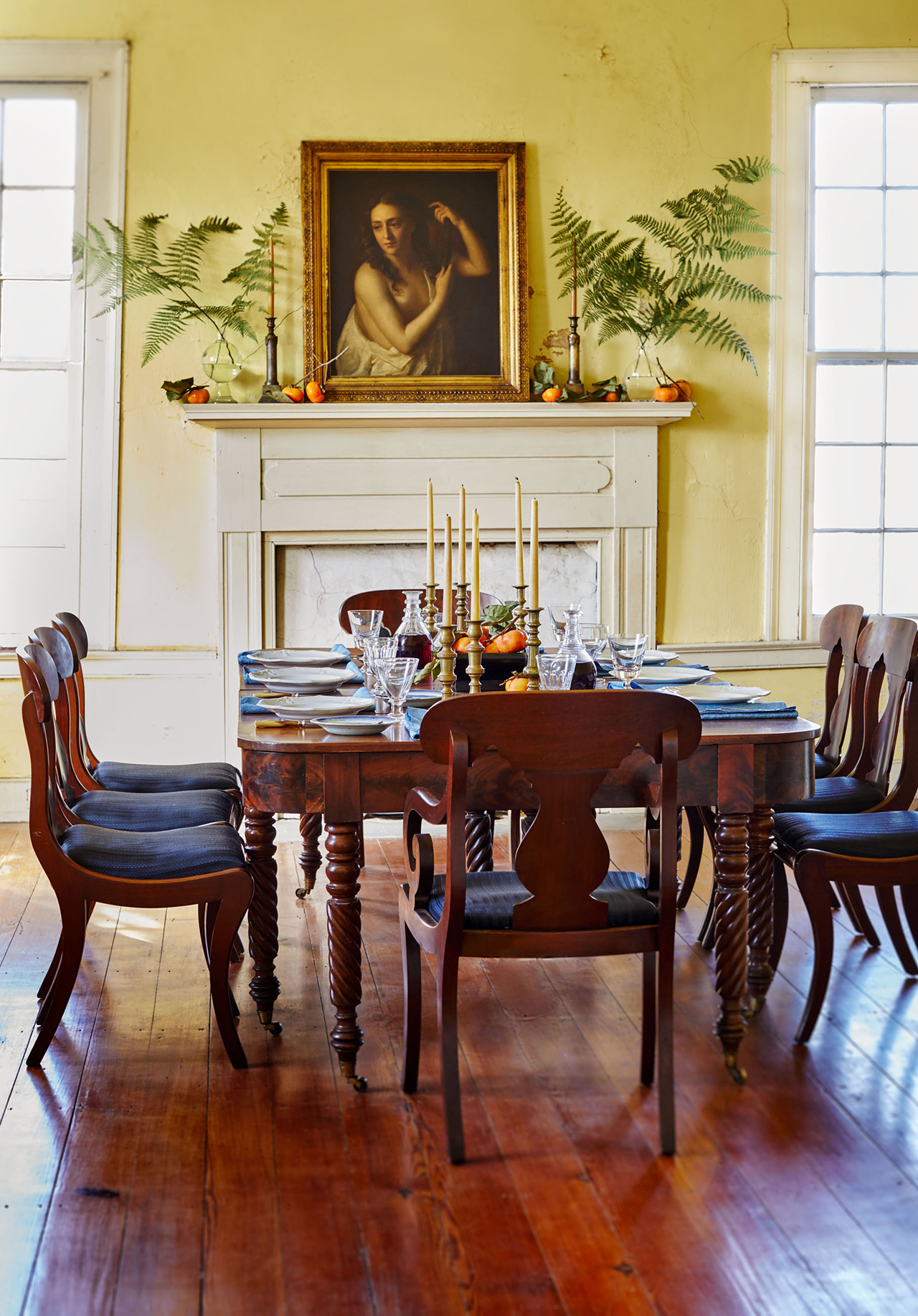old home dining room wooden table fire place