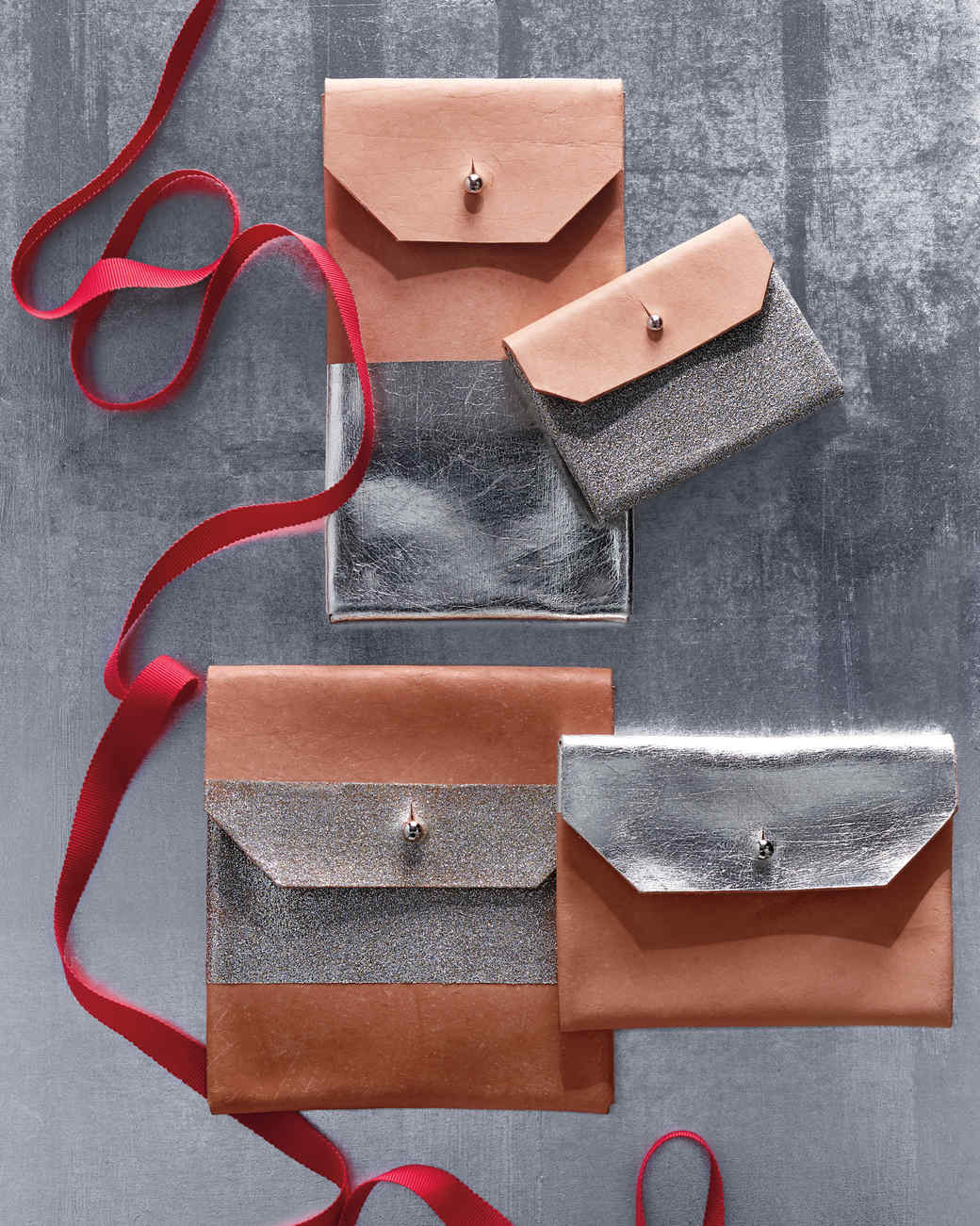 silver leather pouches