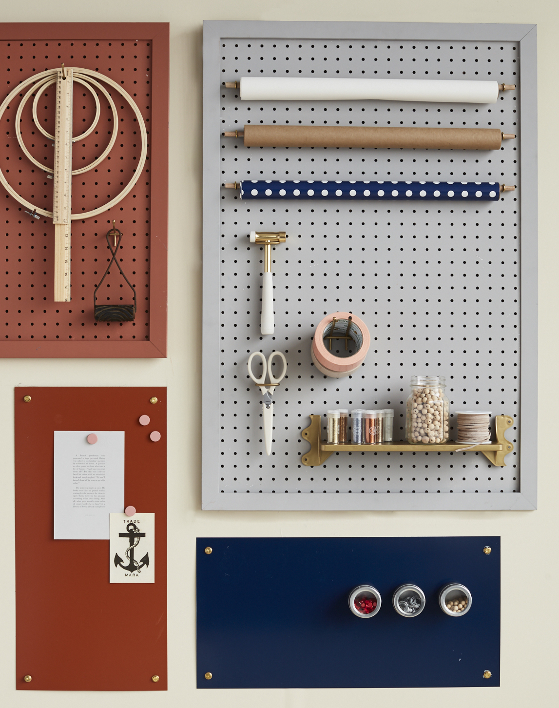 hardware on a peg board