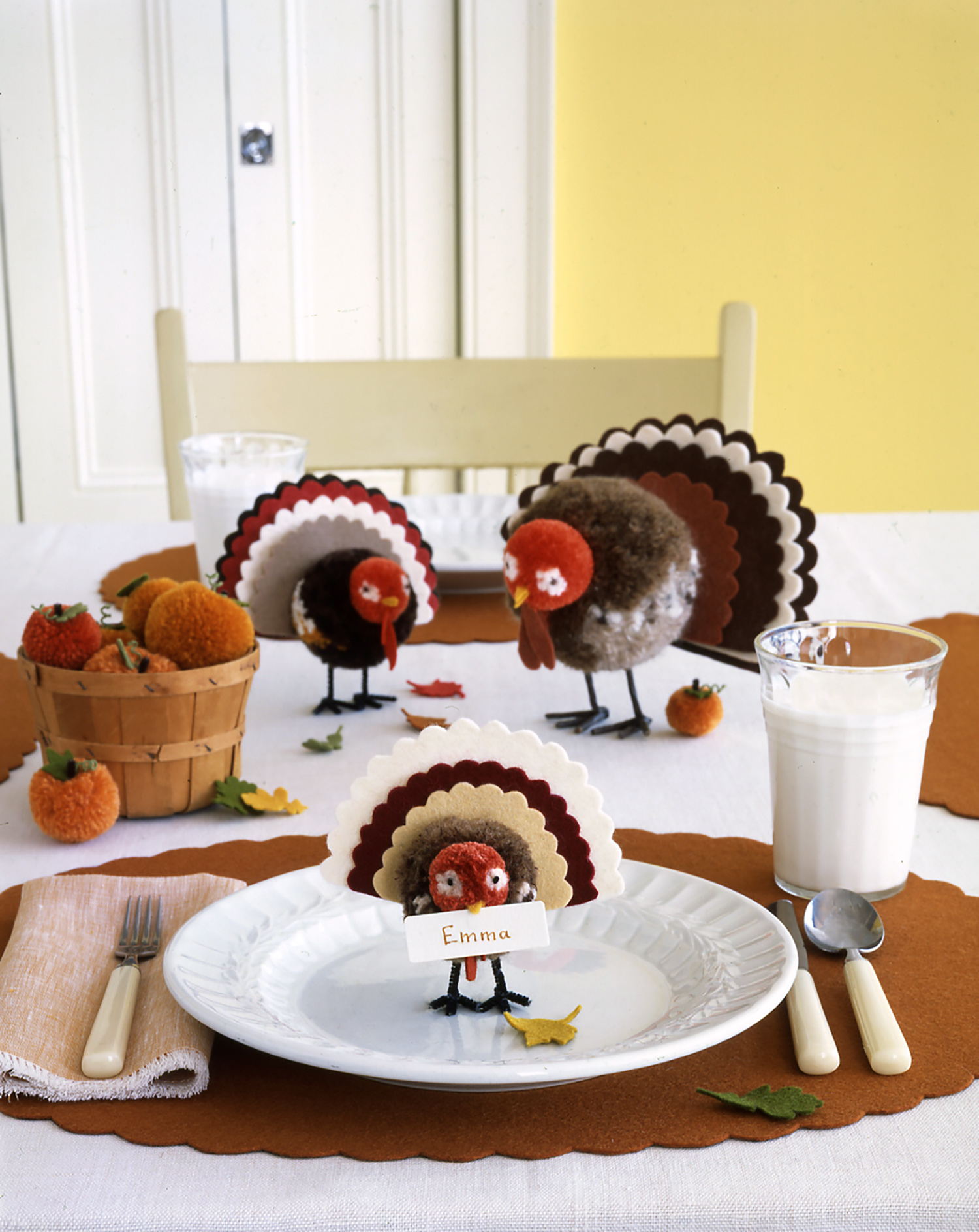 turkey pom poms on table