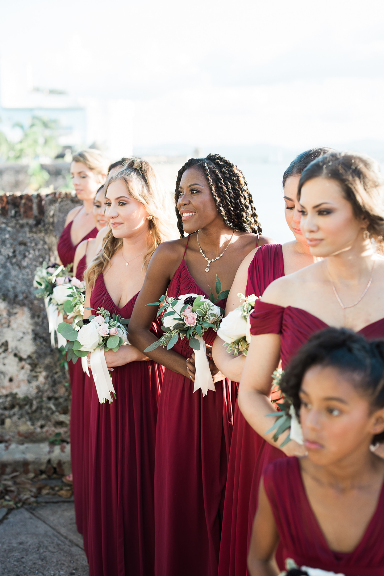 victoria tk wedding bridesmaids in burgundy