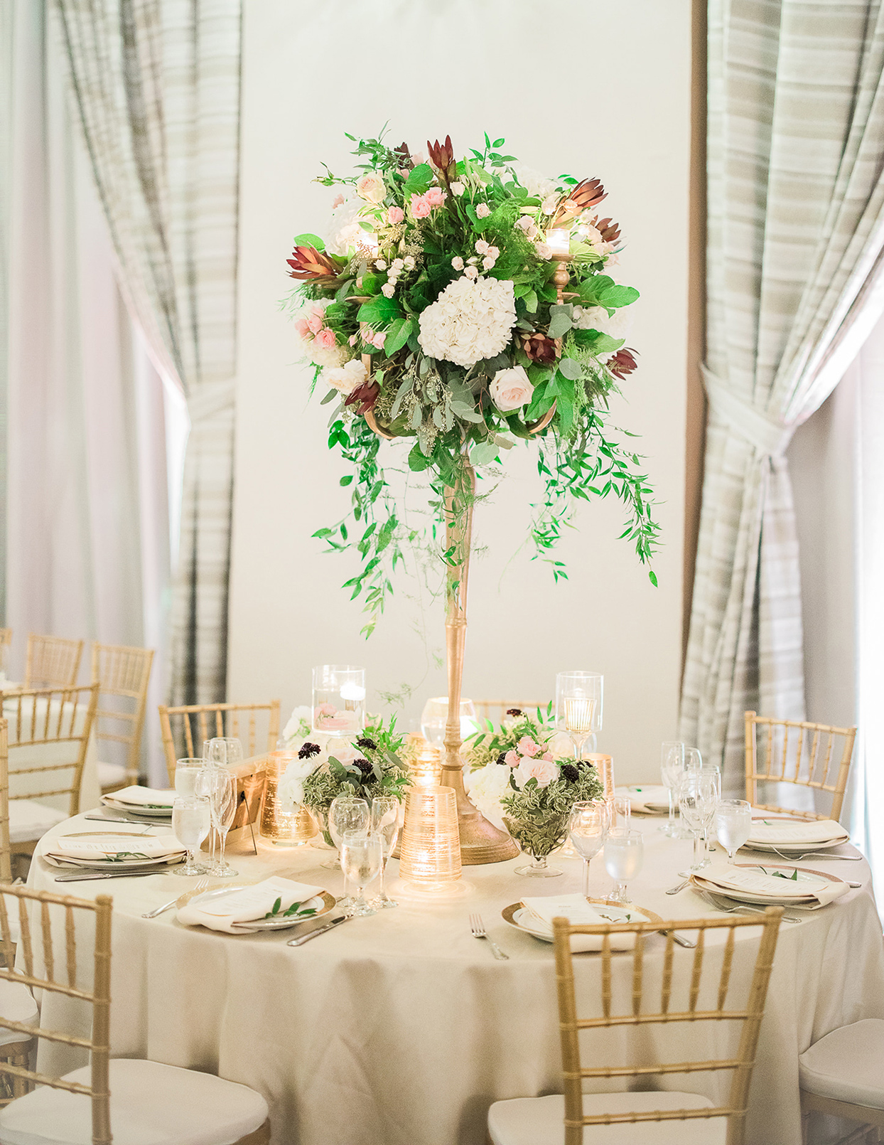 victoria tk wedding reception round table tall centerpiece