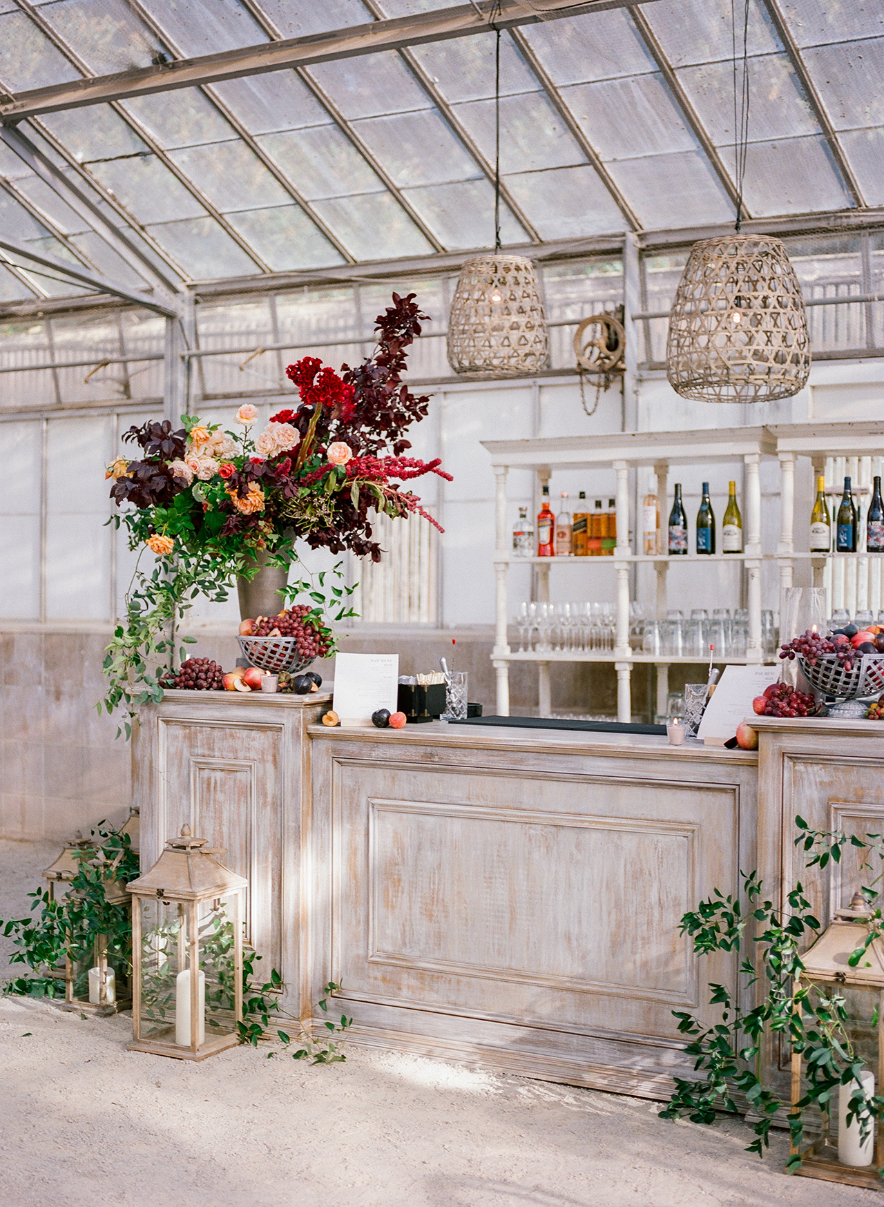 cocktail hour wedding bar greenhouse space