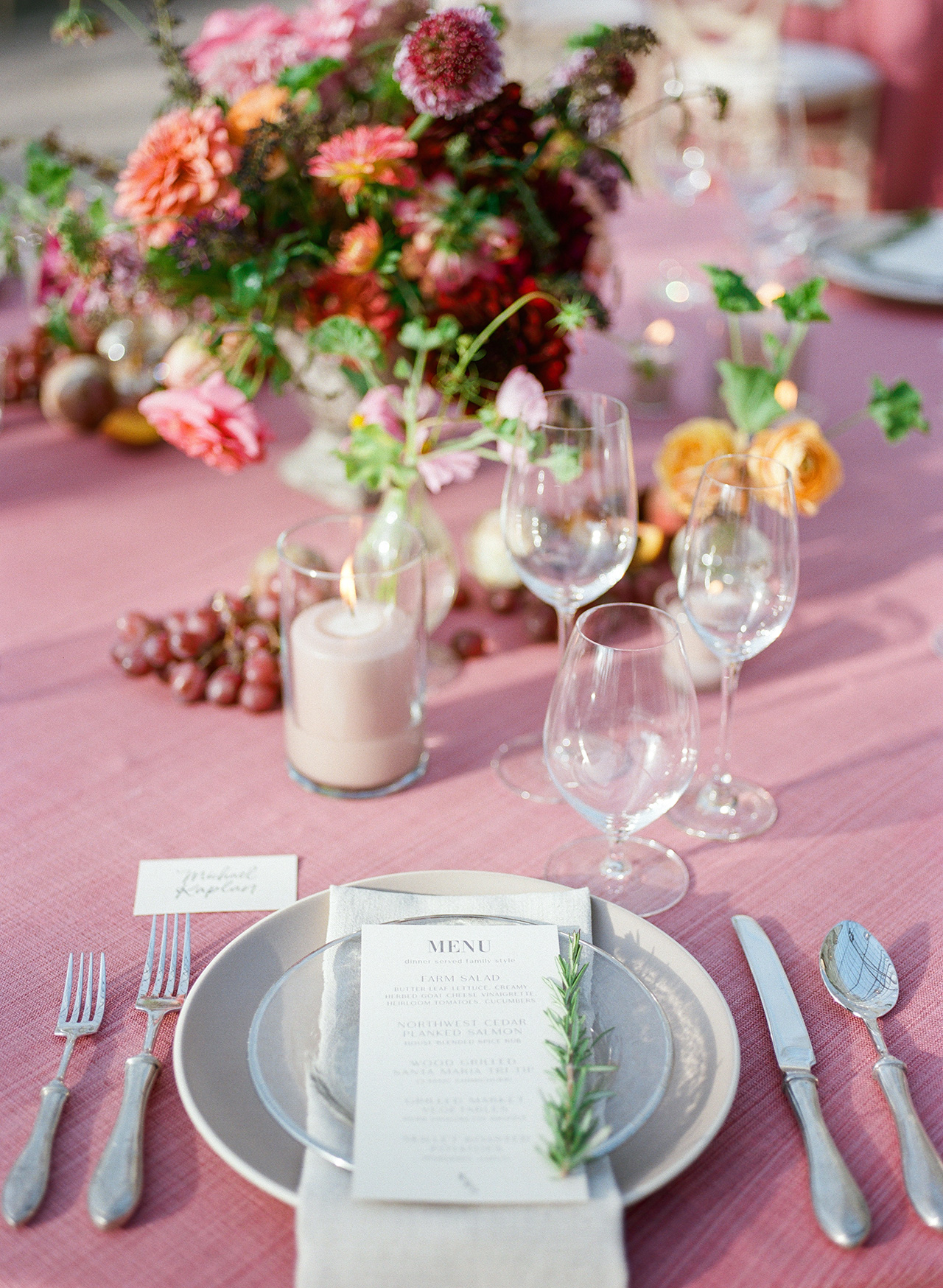 reception table setting pink cloth menu rosemary