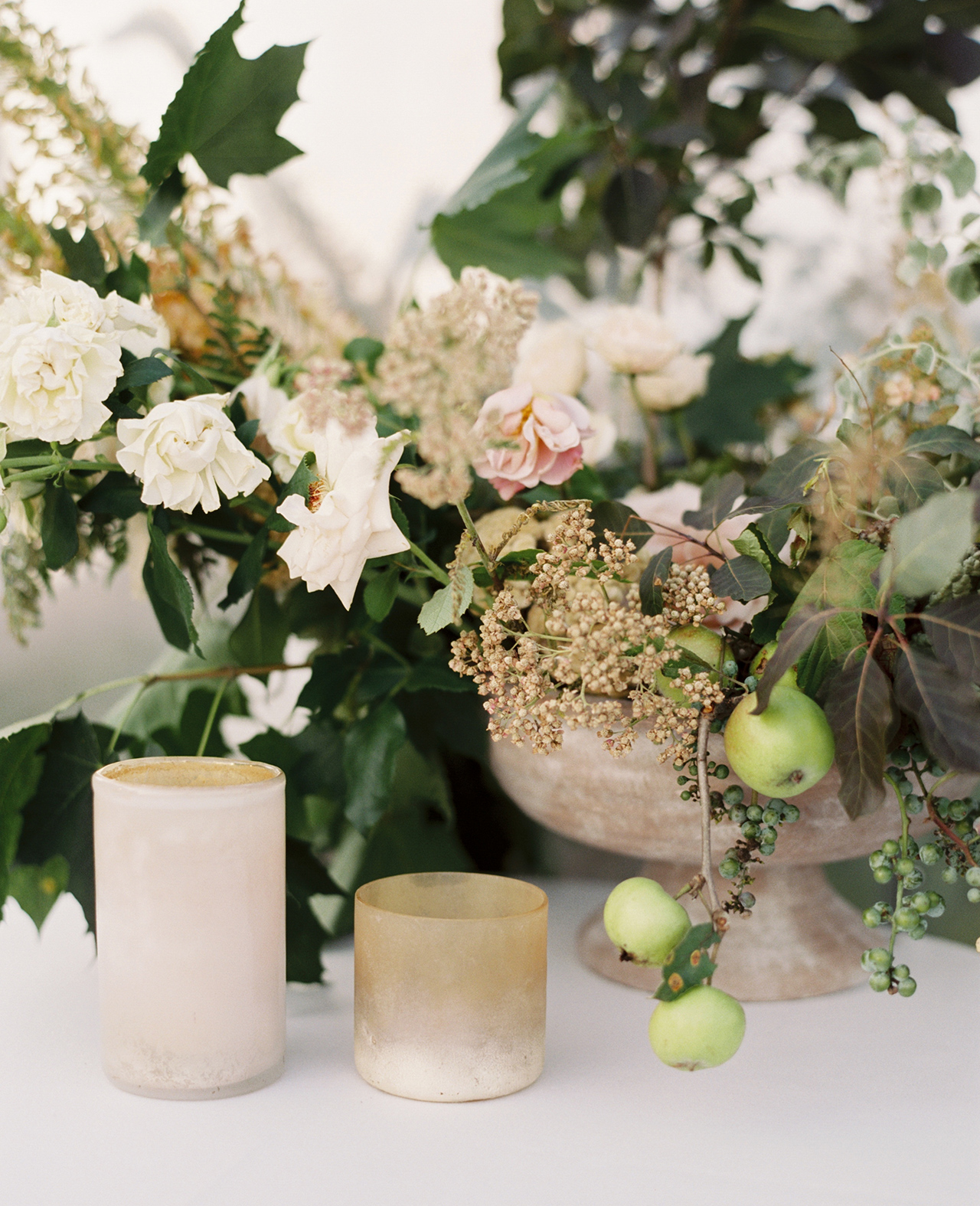 apple ivy floral bowl centerpieces candles