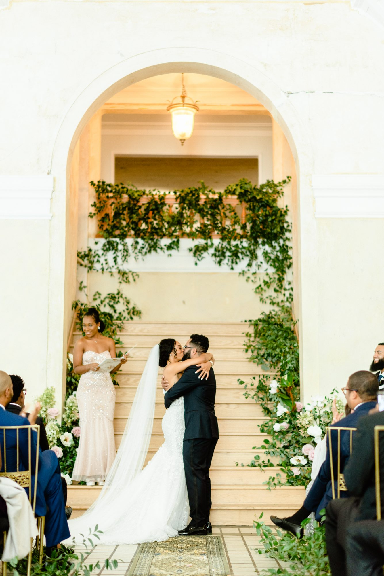ryan shep wedding couple first kiss during ceremony