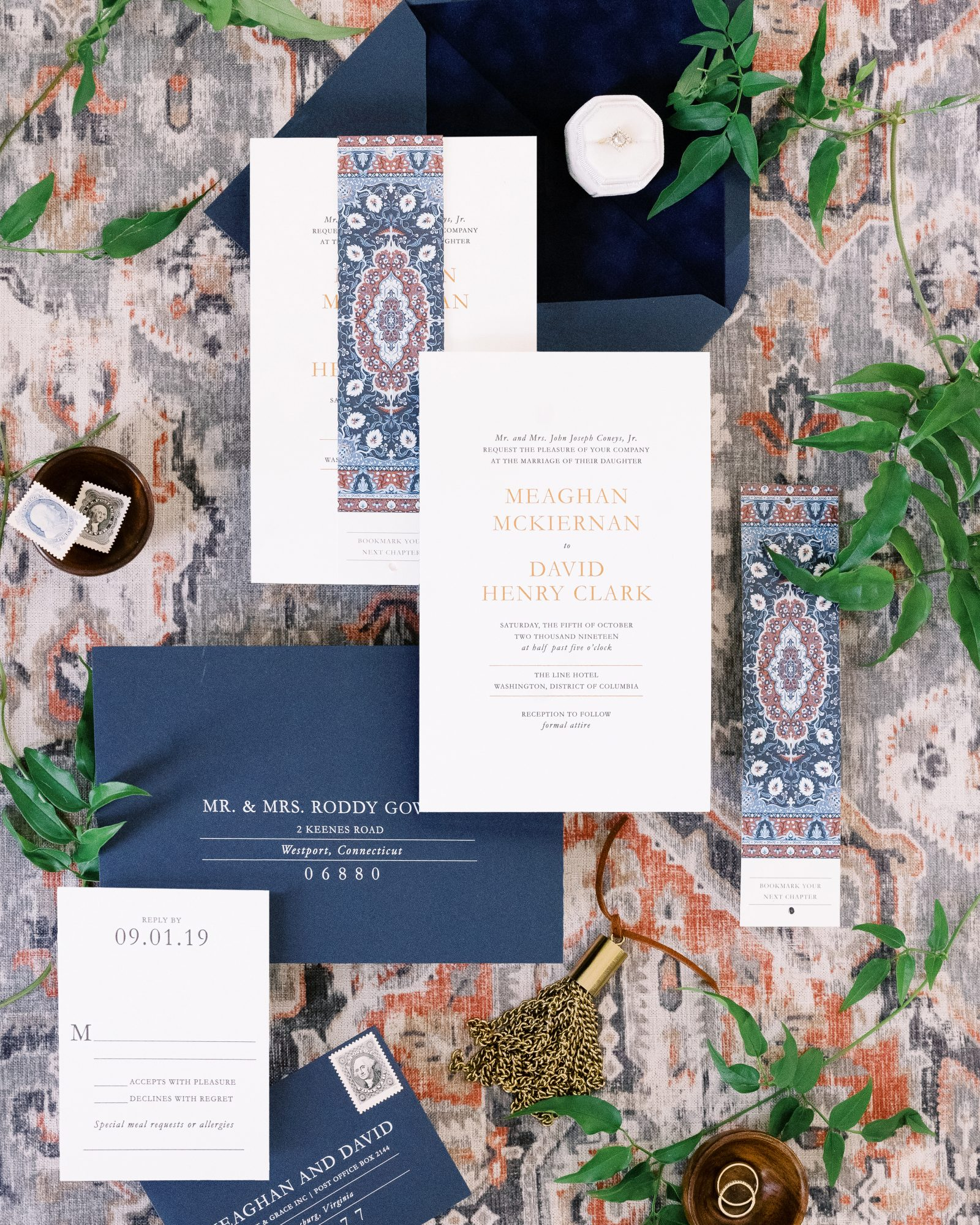 meaghan and david colorful invitation suite