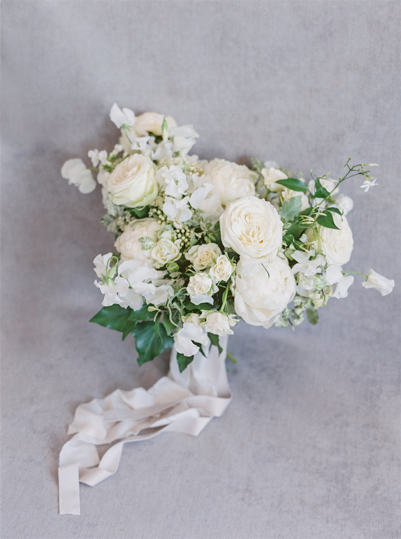 White floral wedding bouquet ivory ribbon