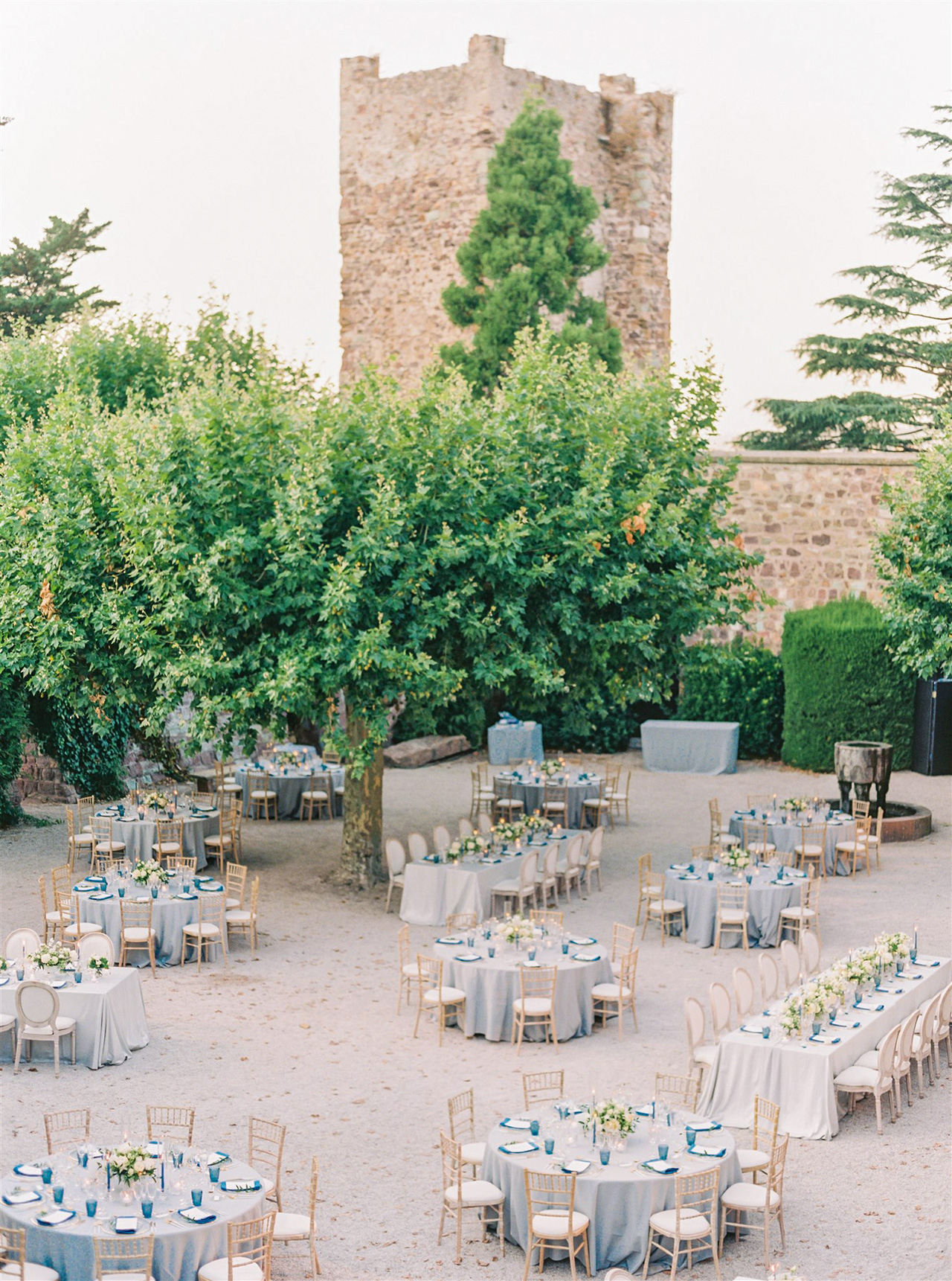 outdoor wedding reception space blue white decor