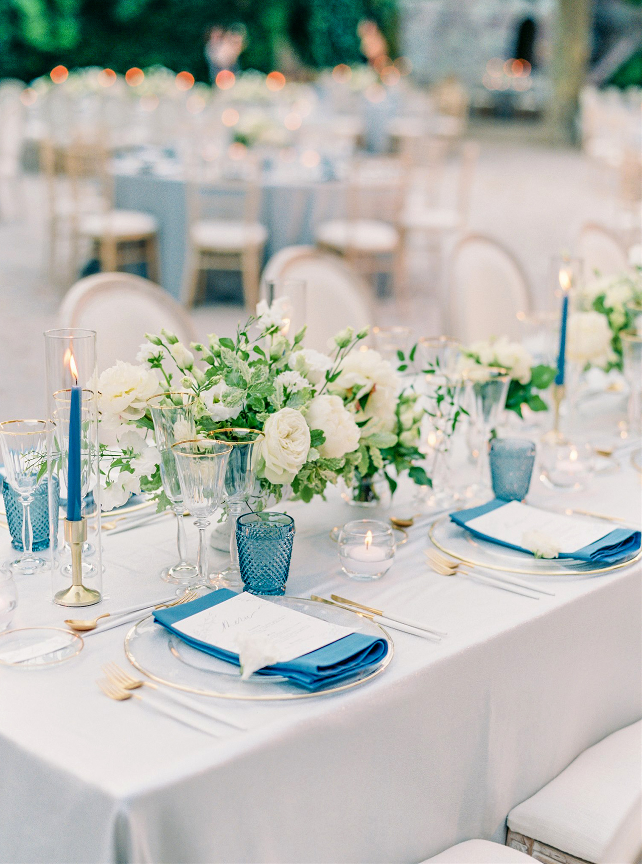 timeless and classy white blue table setting reception