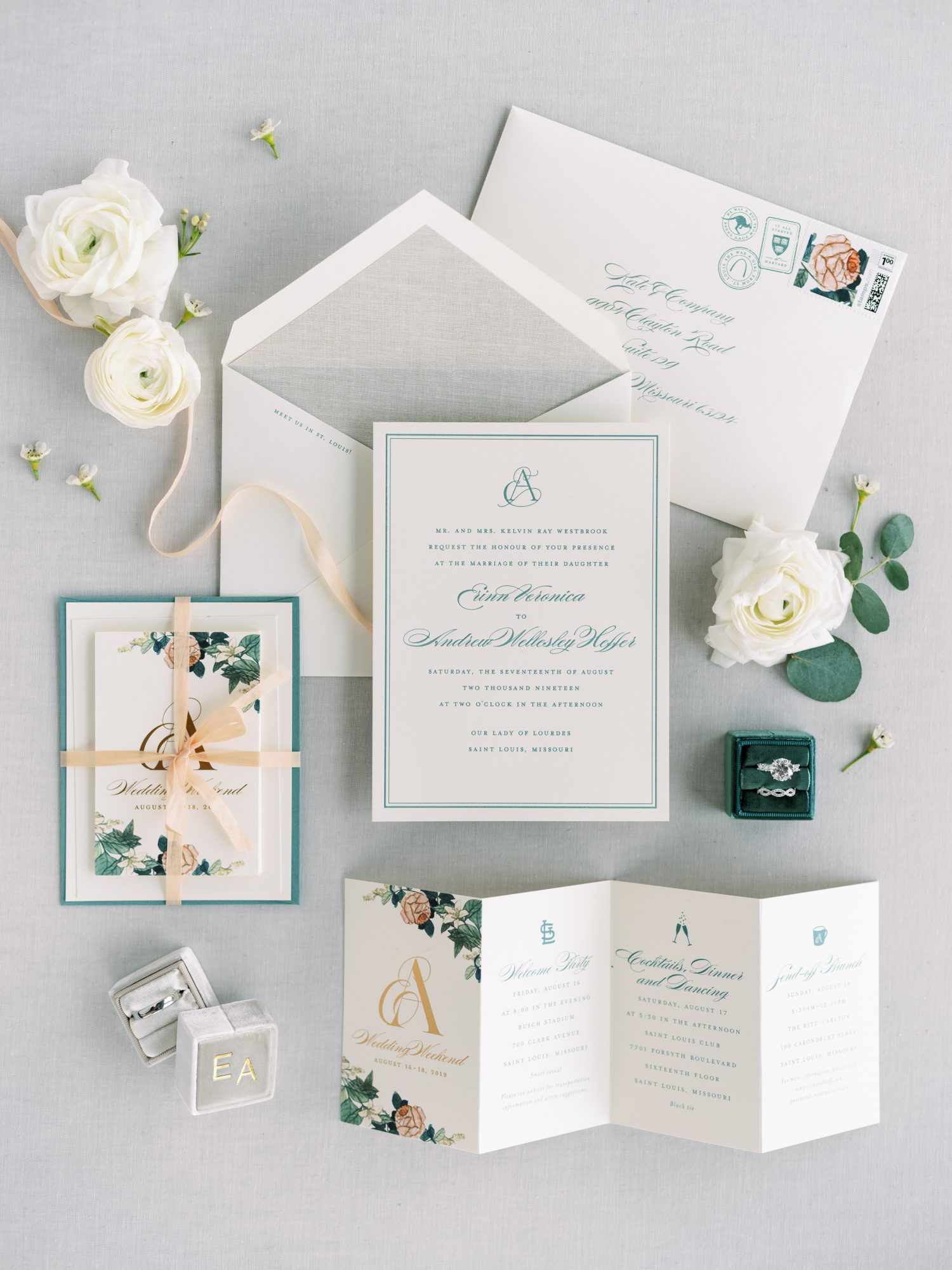 erinn andrew wedding invitation suite with pink and green floral decor