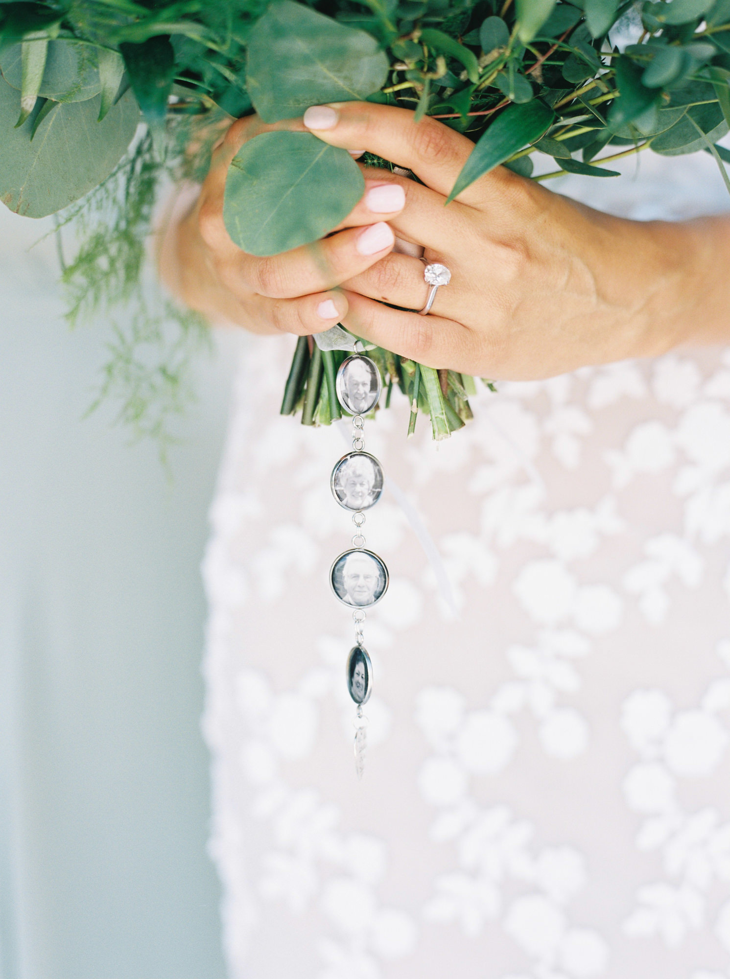 wedding bouquet chain accessory with grandparents photos