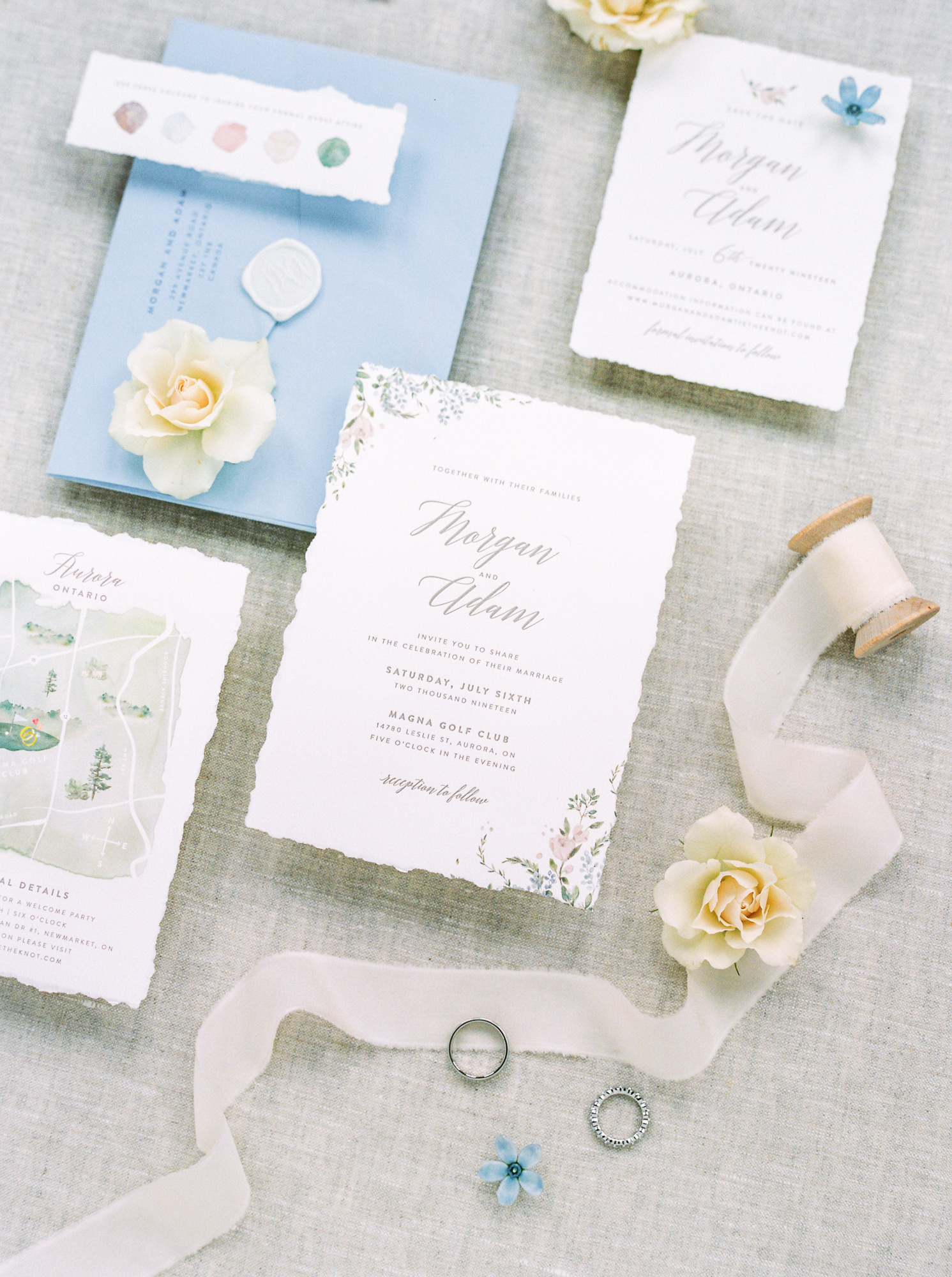 blue and white stationery suit with floral motif design