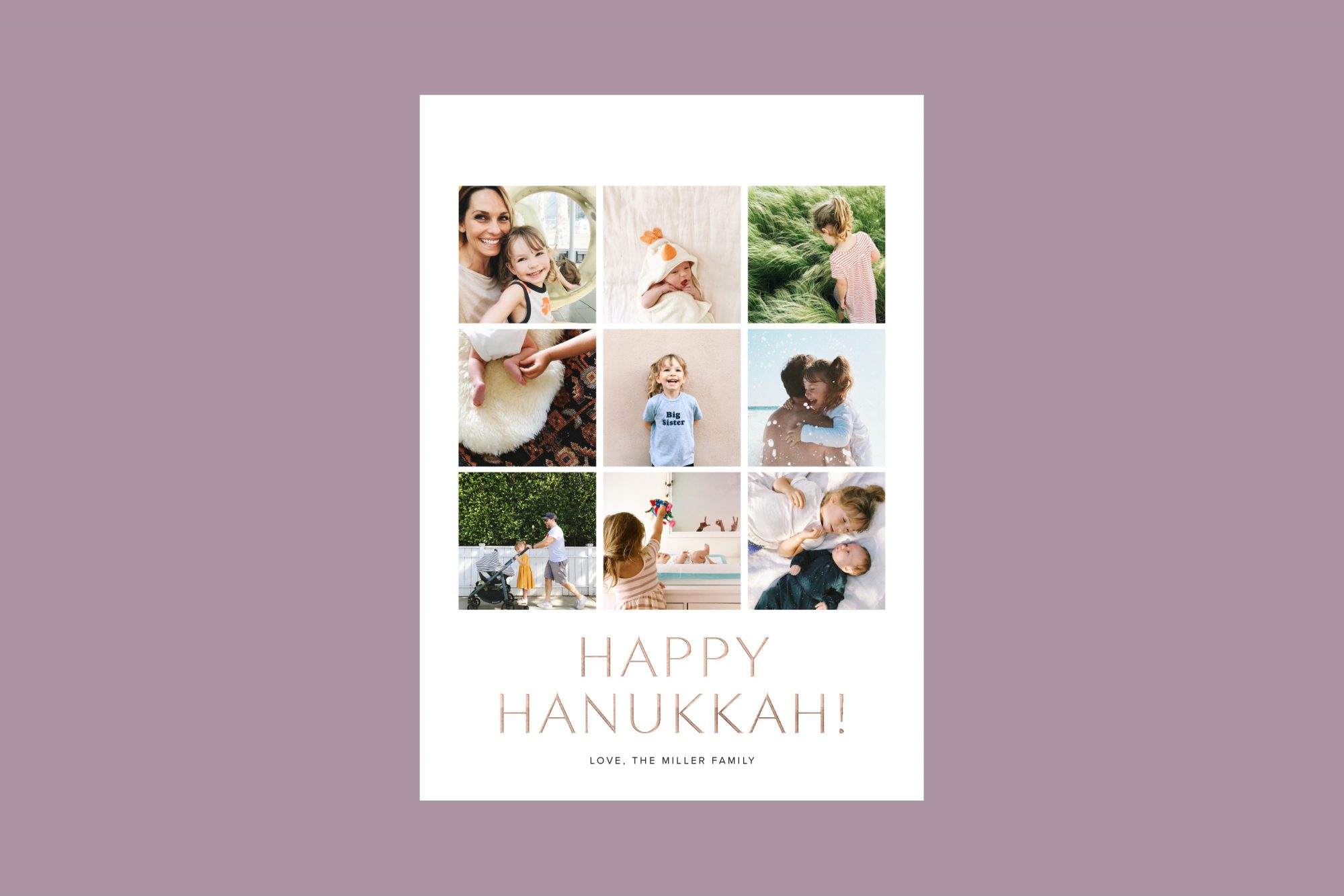 personalized Happy Hanukkah! white card with nine photos