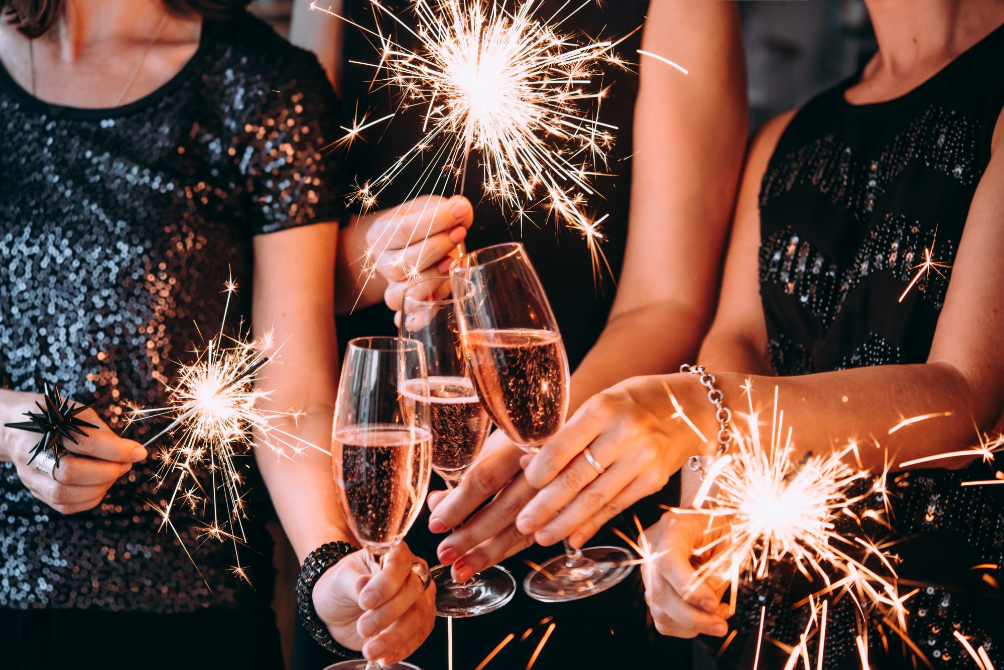 Champagne Cheers with Sparklers
