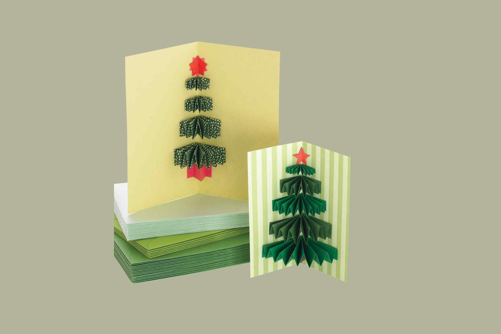 christmas tree cards and envelopes