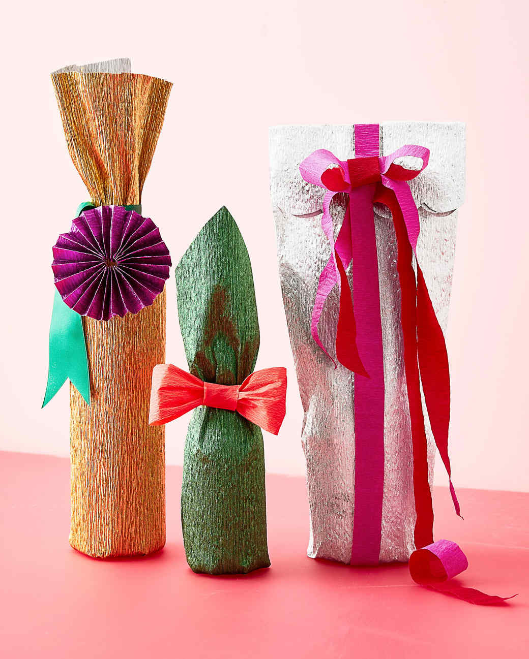 crepe paper gift wrapping bottles