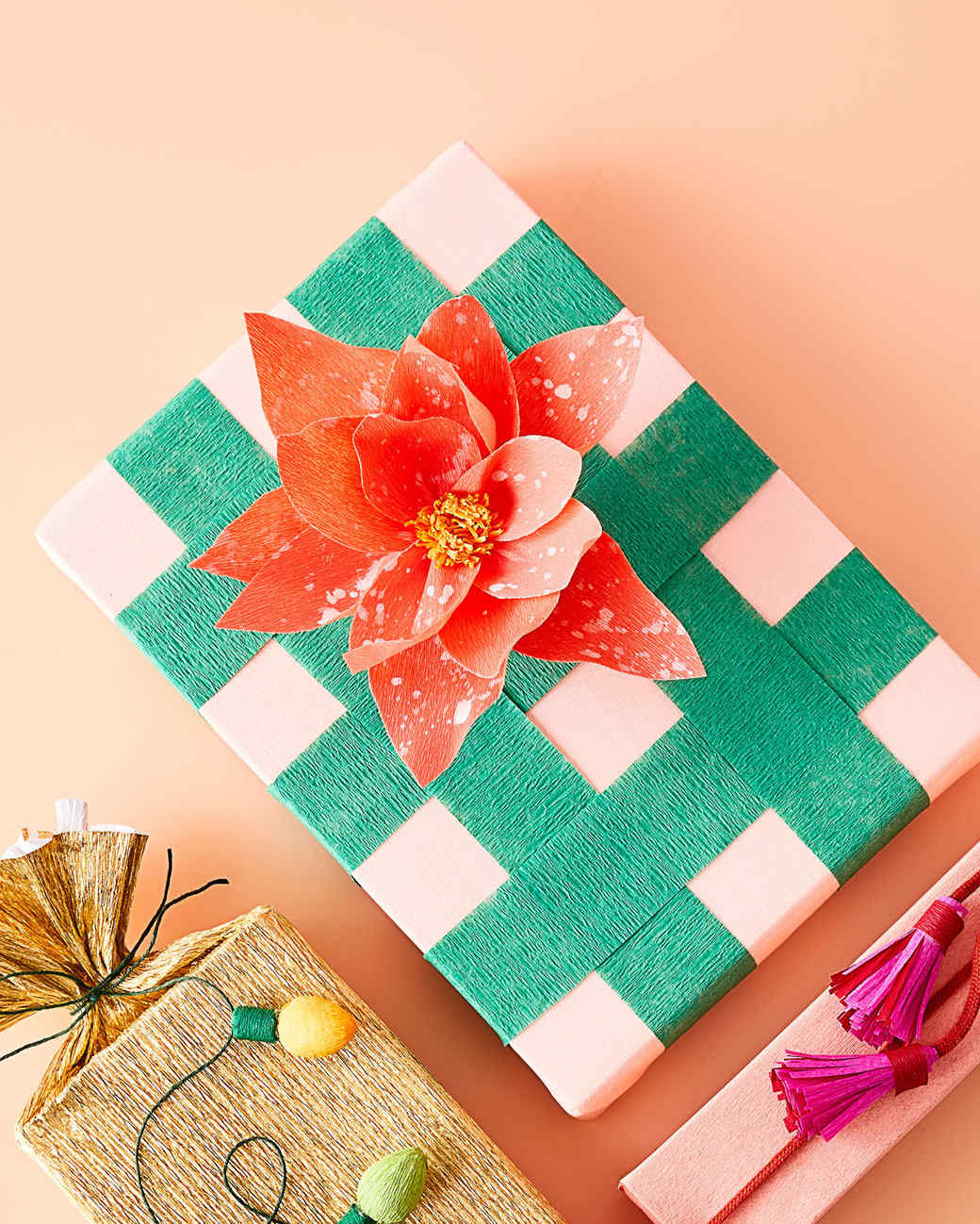 crepe paper poinsettia for gift wrapping