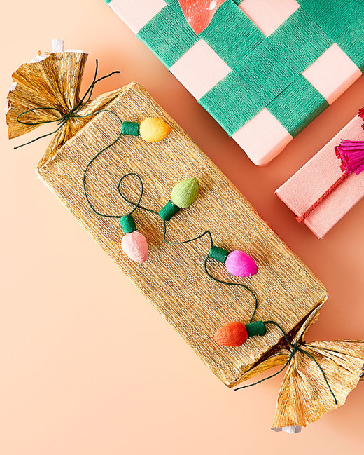 crepe paper string lights for gift wrapping