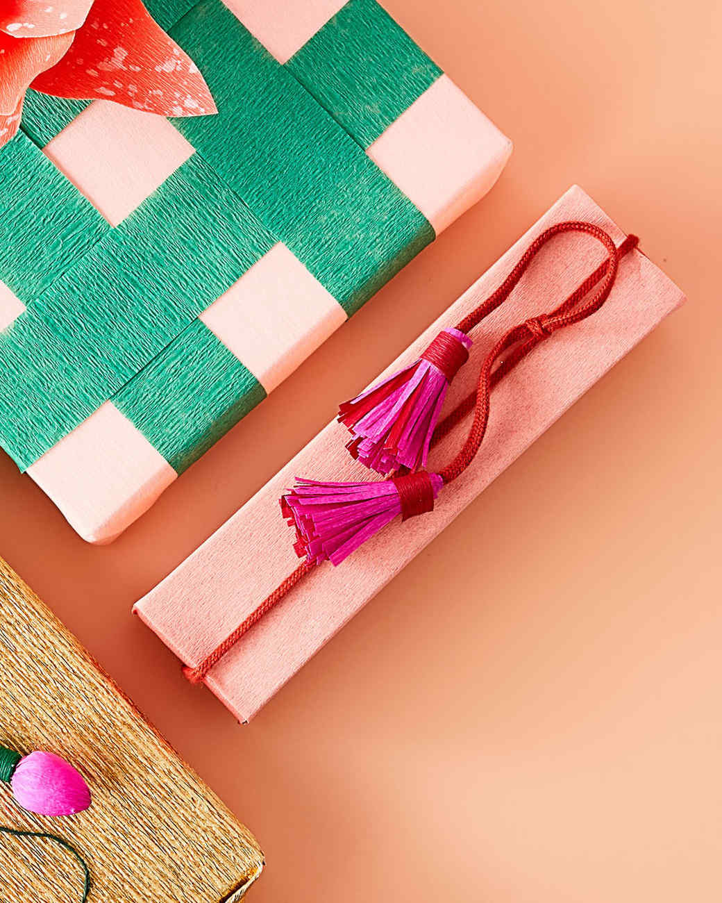 crepe paper tassels for gift wrapping