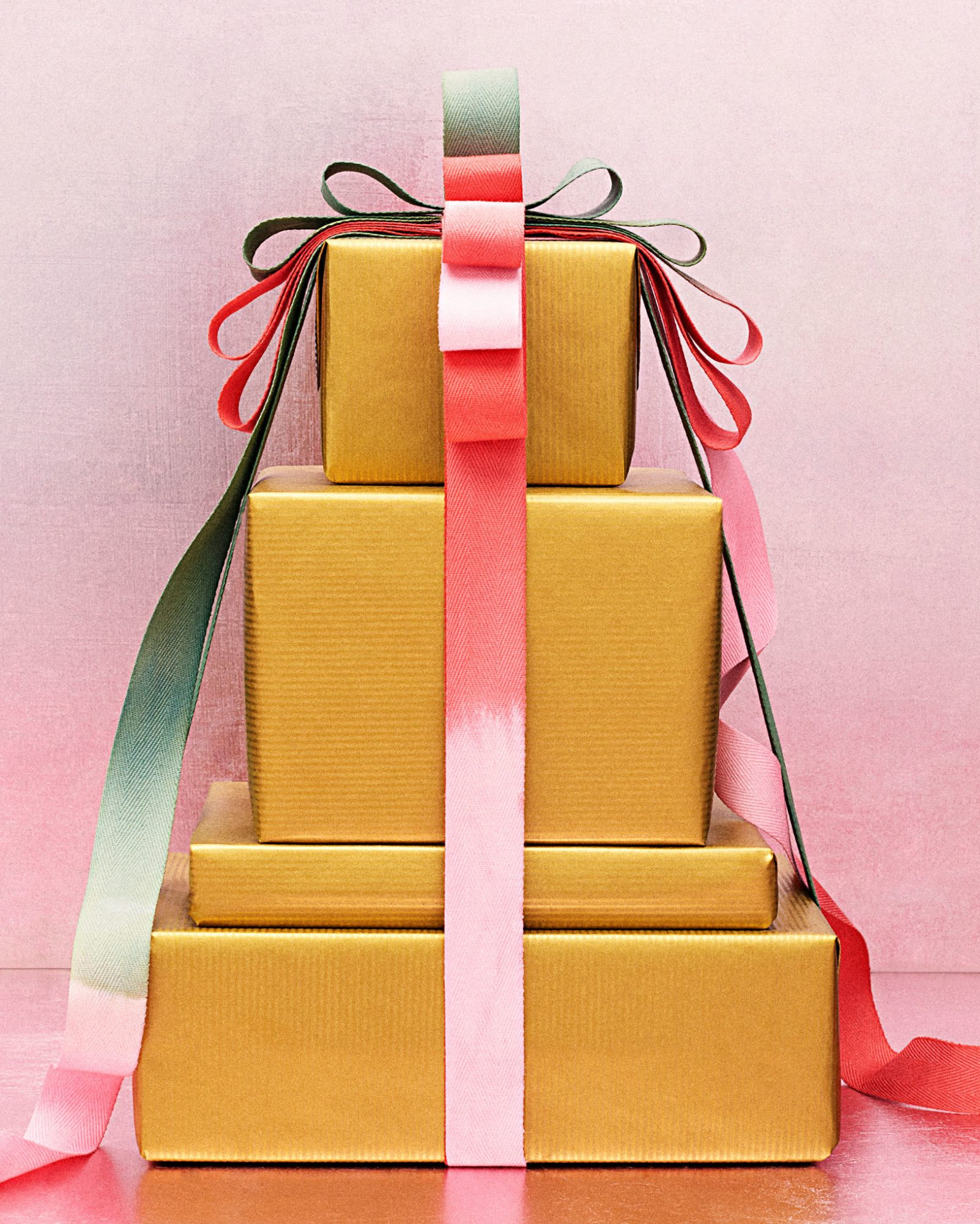 dip-dyed ribbon on gift-wrapped packages