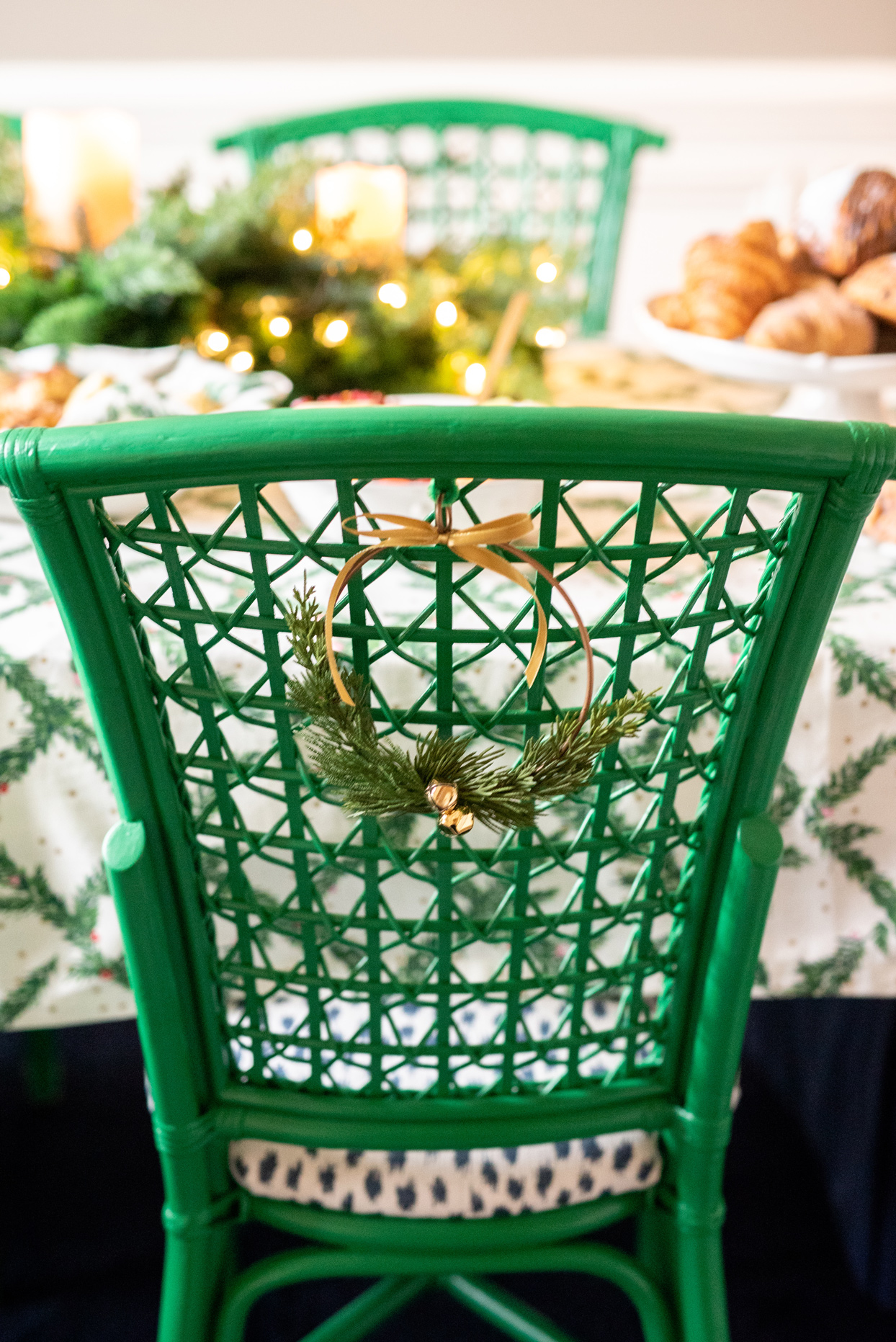 green dinning chair with mini wreath accent