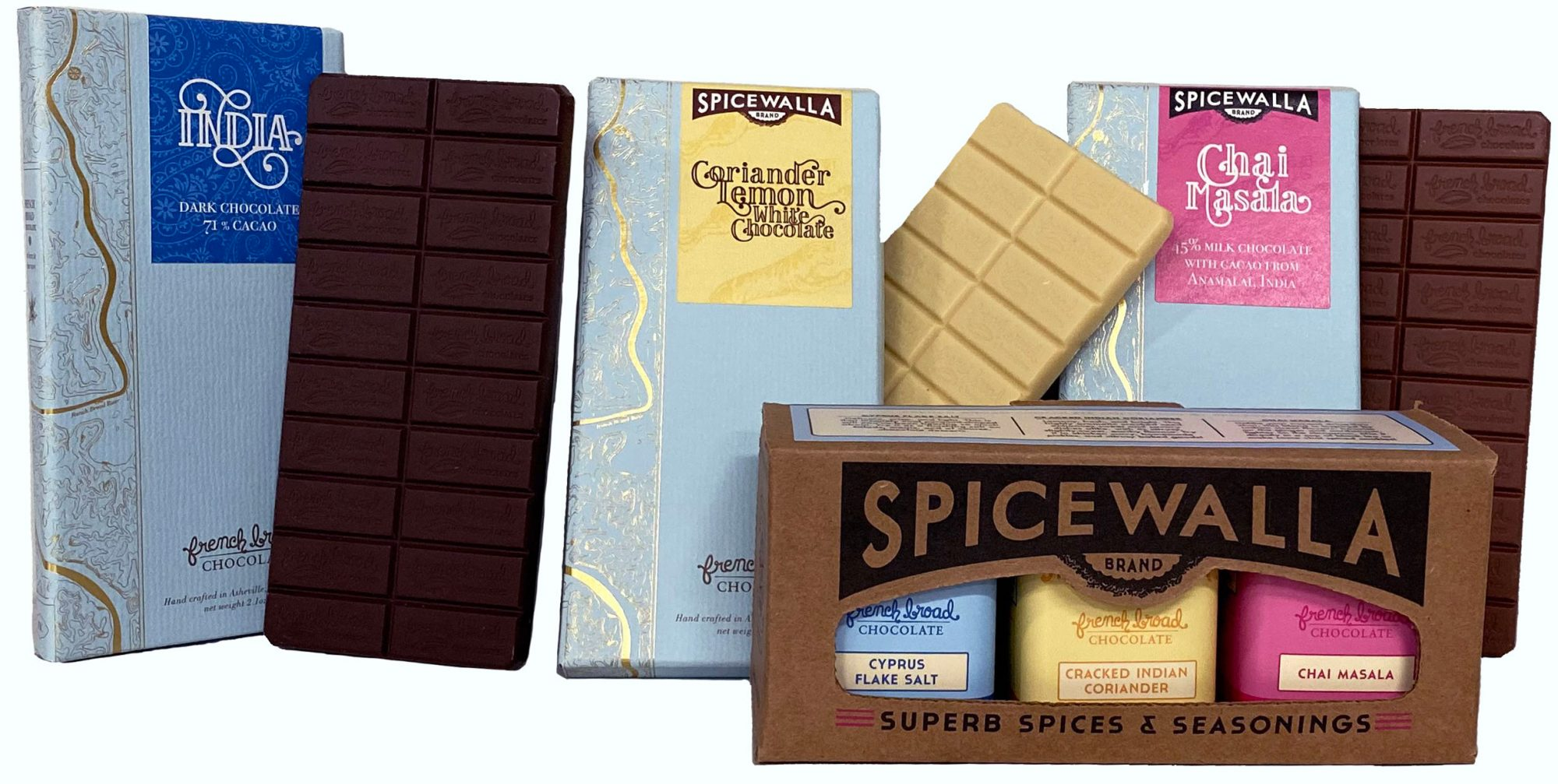 french broad chocolate spicewalla bundle indian inspired bars