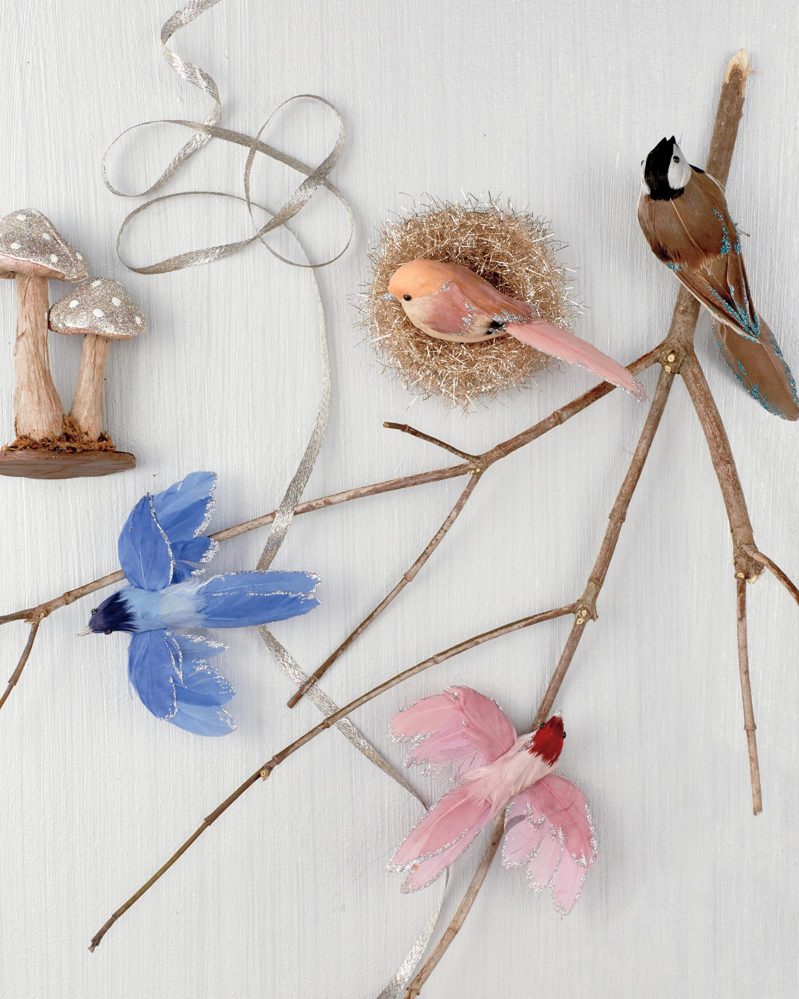 glittered birds, nests, and mushrooms