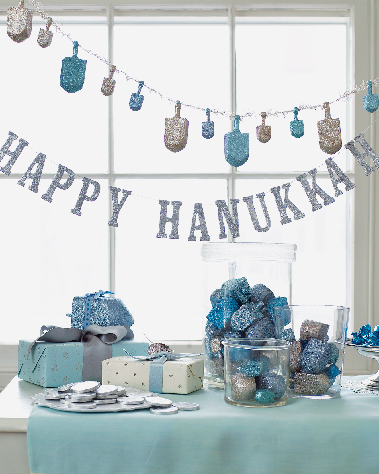 glittered Hanukkah decorations