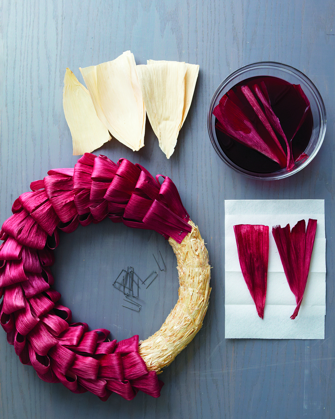 supplies for a corn husk wreath