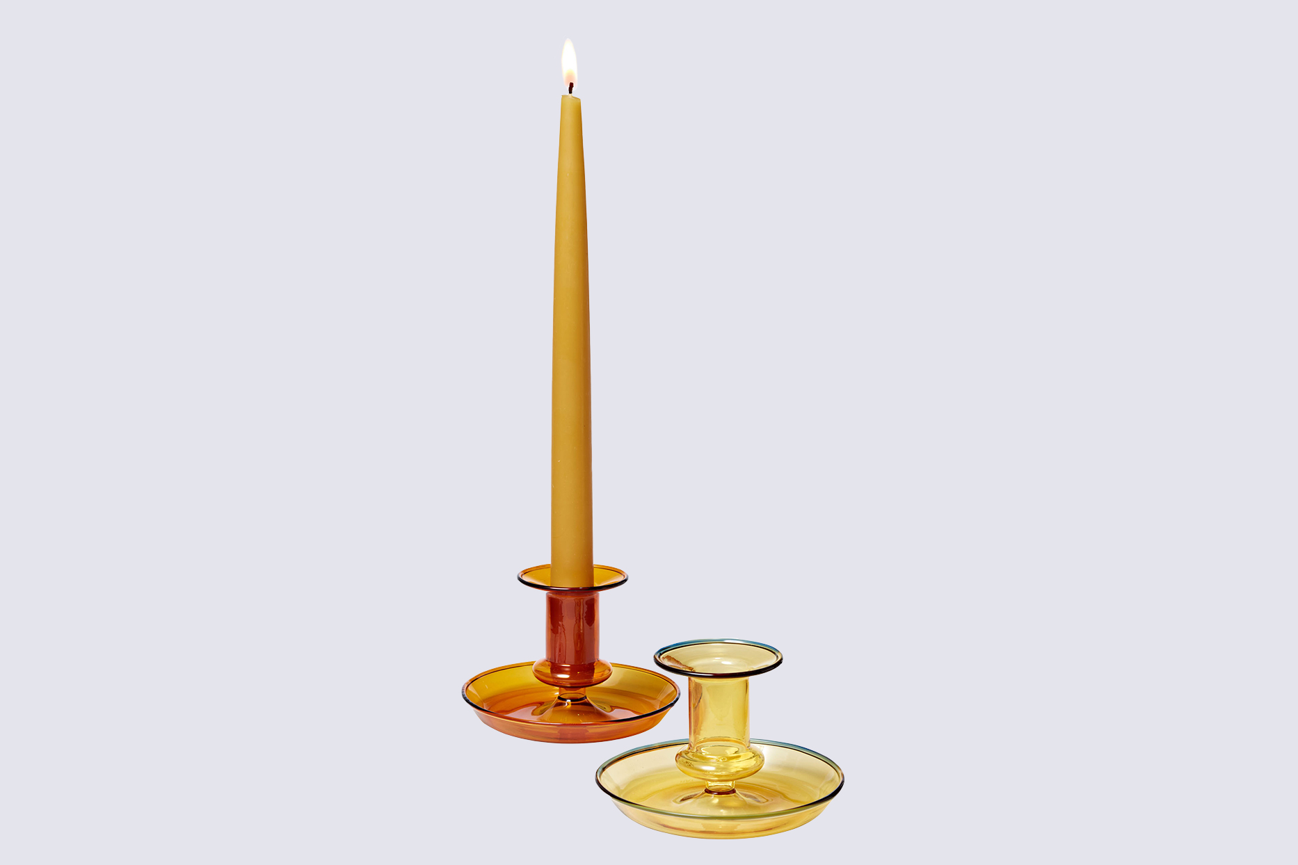 """Hay """"Flare"""" Blown-Glass Candleholder in Amber"""