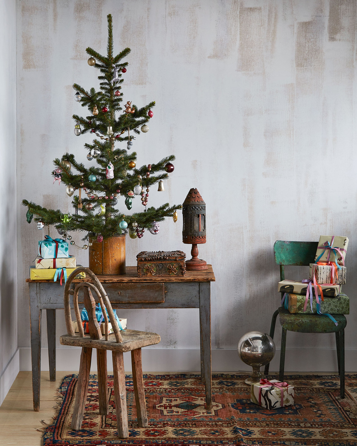 John Derian's Christmas tree of antique and vintage ornaments