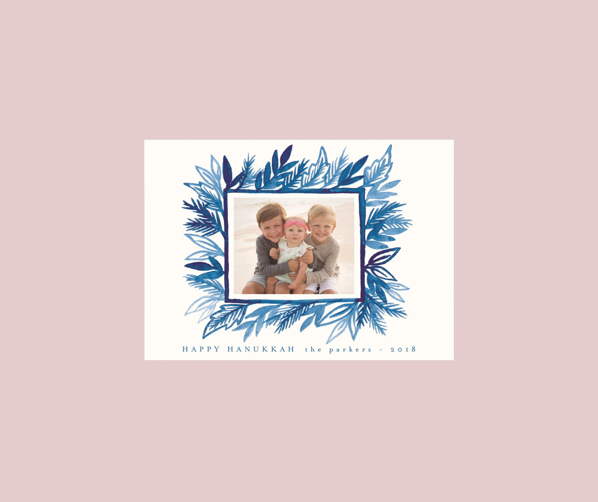 personalized white card blue leaf illustration with photo