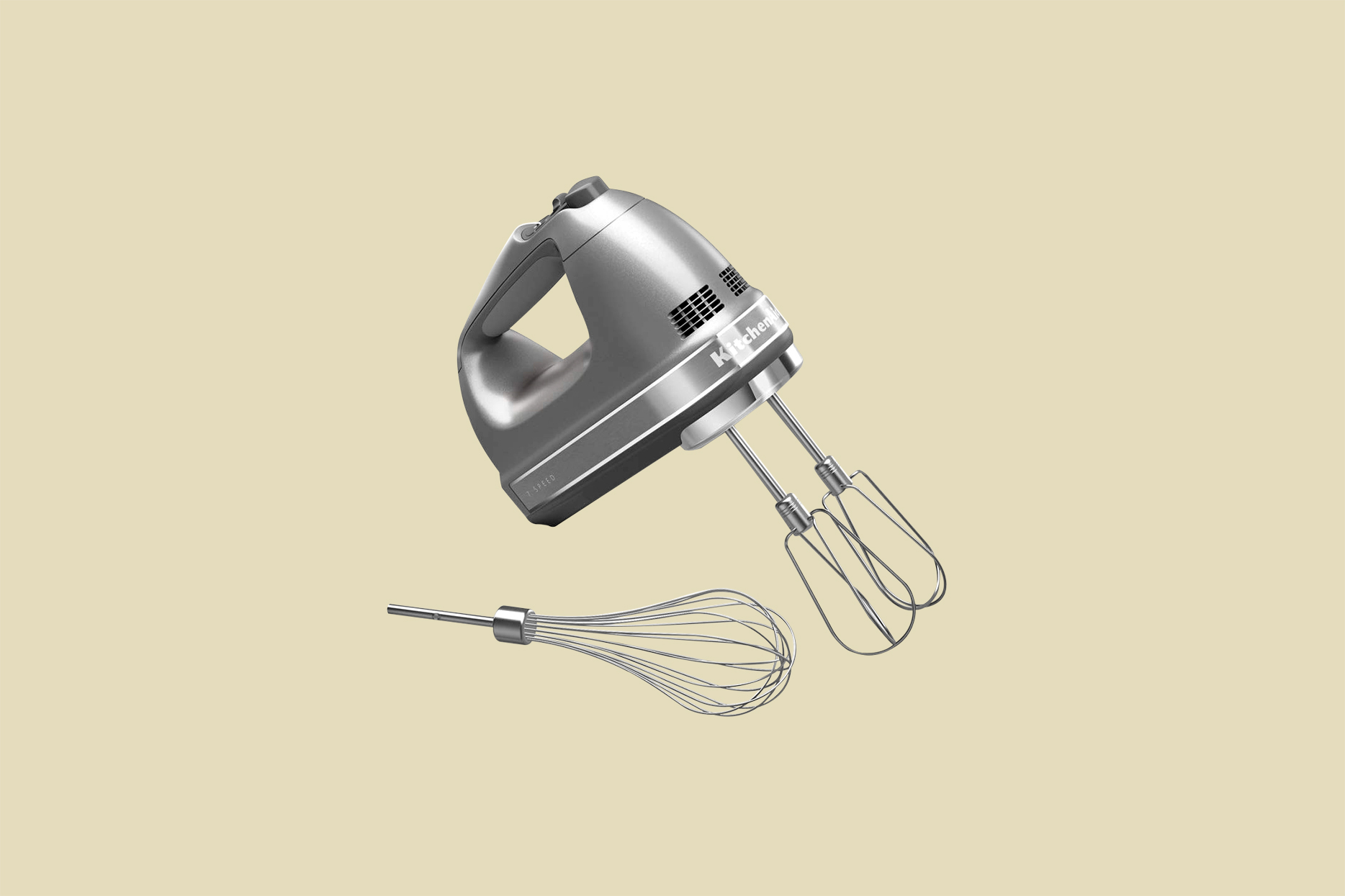 KitchenAid 7-Speed Digital Hand Mixer with Turbo Beater II Accessories and Pro Whisk in Contour Silver
