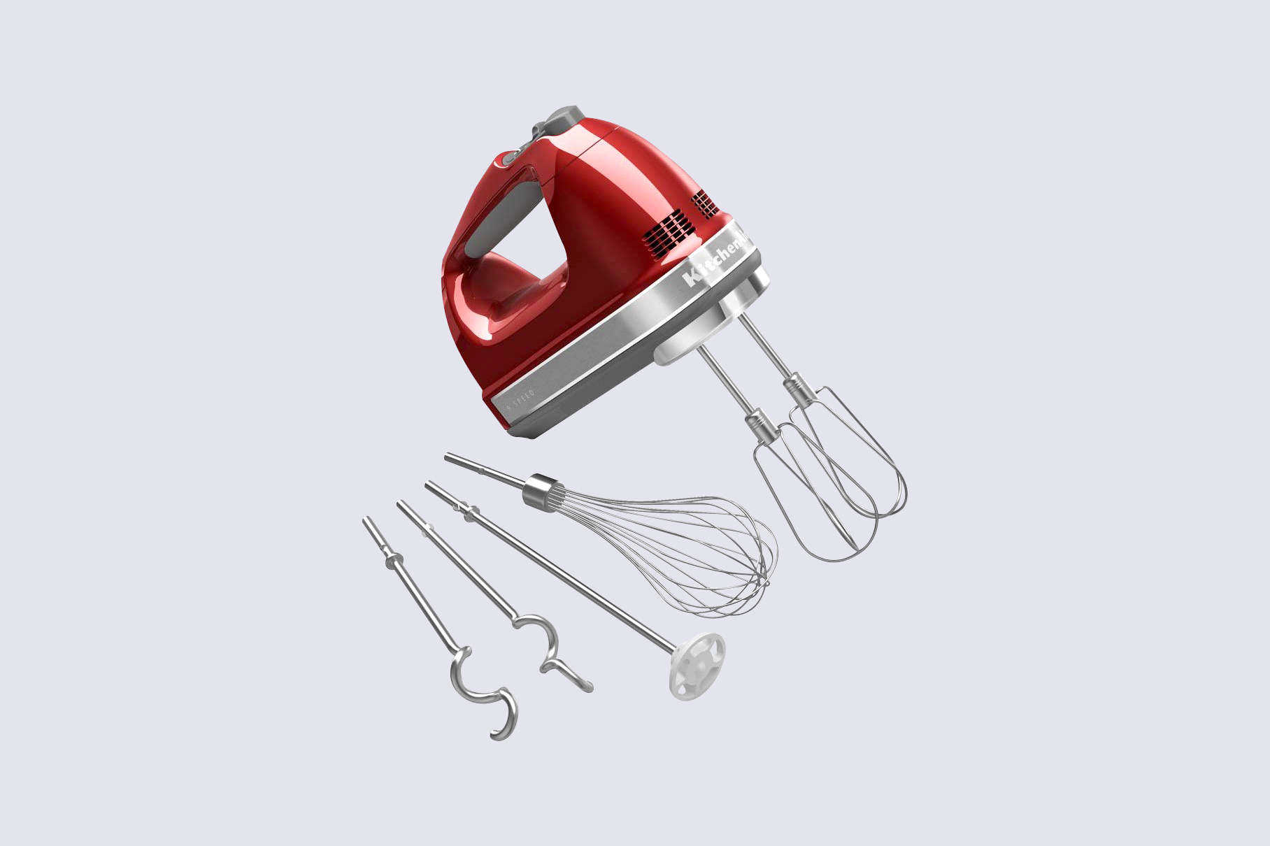 KitchenAid 9-Speed Digital Hand Mixer with Turbo Beater II Accessories and Pro Whisk in Candy Apple Red